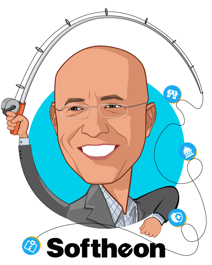 Overlay caricature of Eugene Sayan, who is speaking at HLTH and is Founder, CEO & President at Softheon