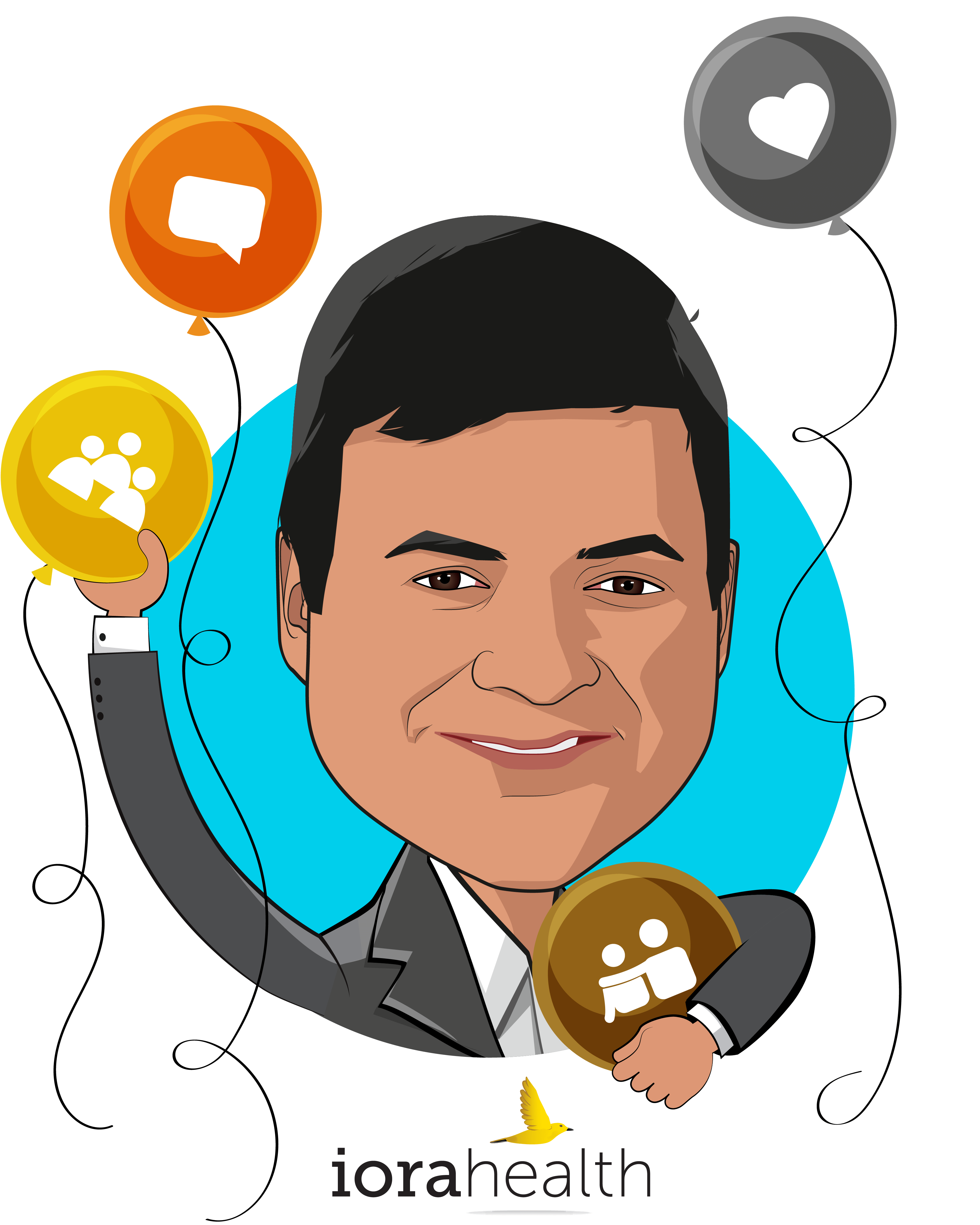 Overlay caricature of Rushika Fernandopulle, MD, MPP, who is speaking at HLTH and is CEO & Co-Founder at Iora Health