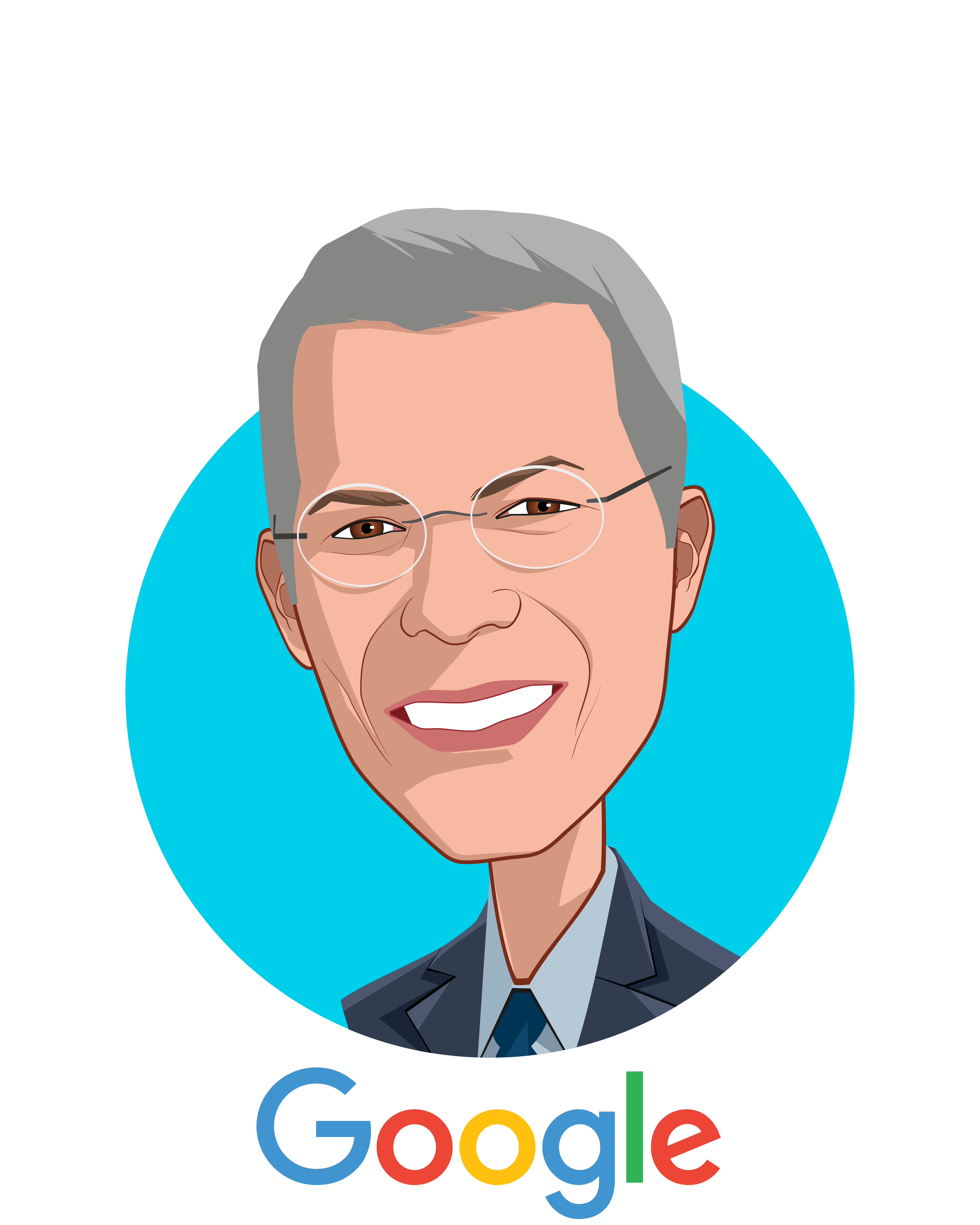 Main caricature of David T. Feinberg, MD, MBA, who is speaking at HLTH and is Head of Google Health at Google