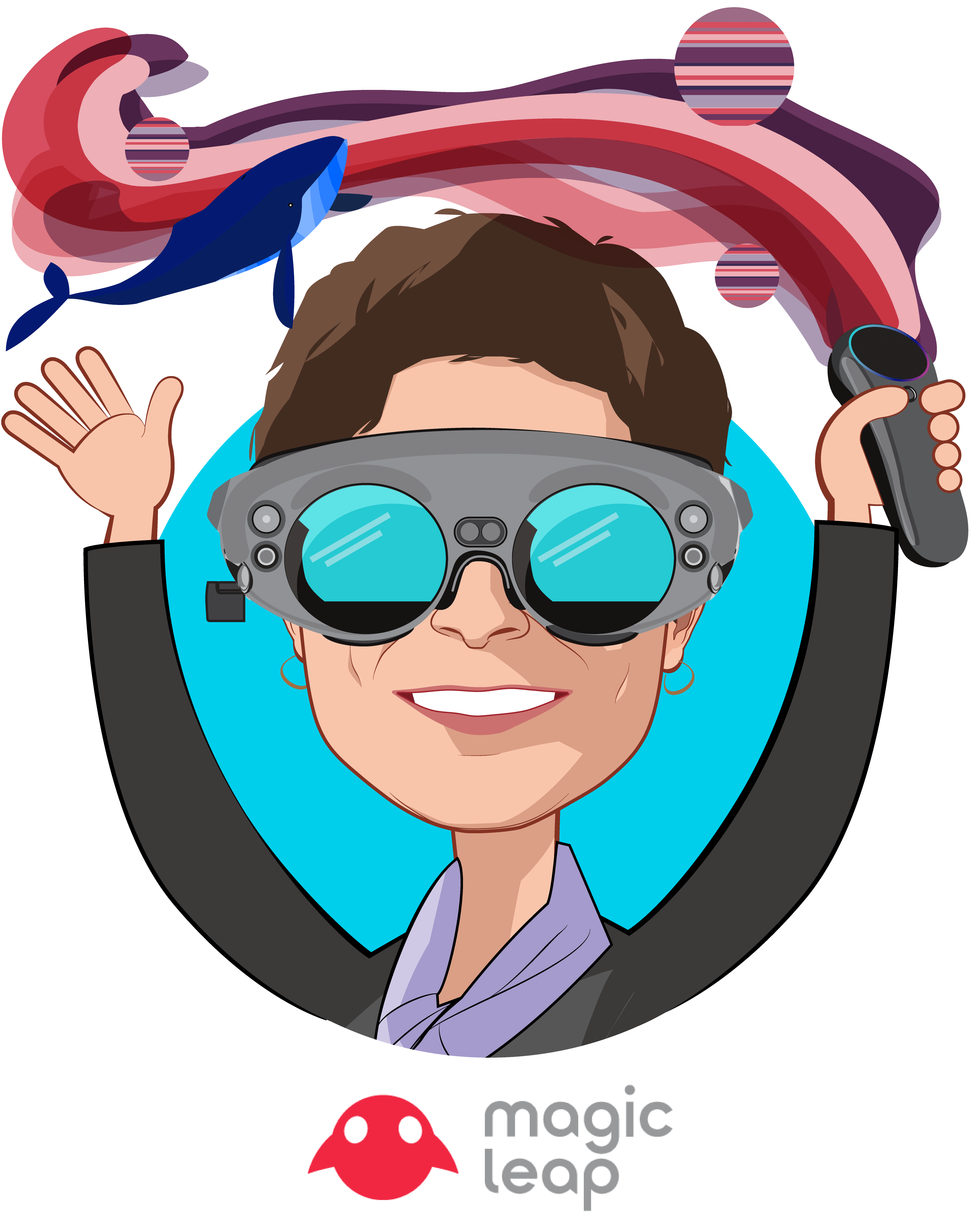 Overlay caricature of Jennifer Esposito, who is speaking at HLTH and is Vice President, Health at Magic Leap