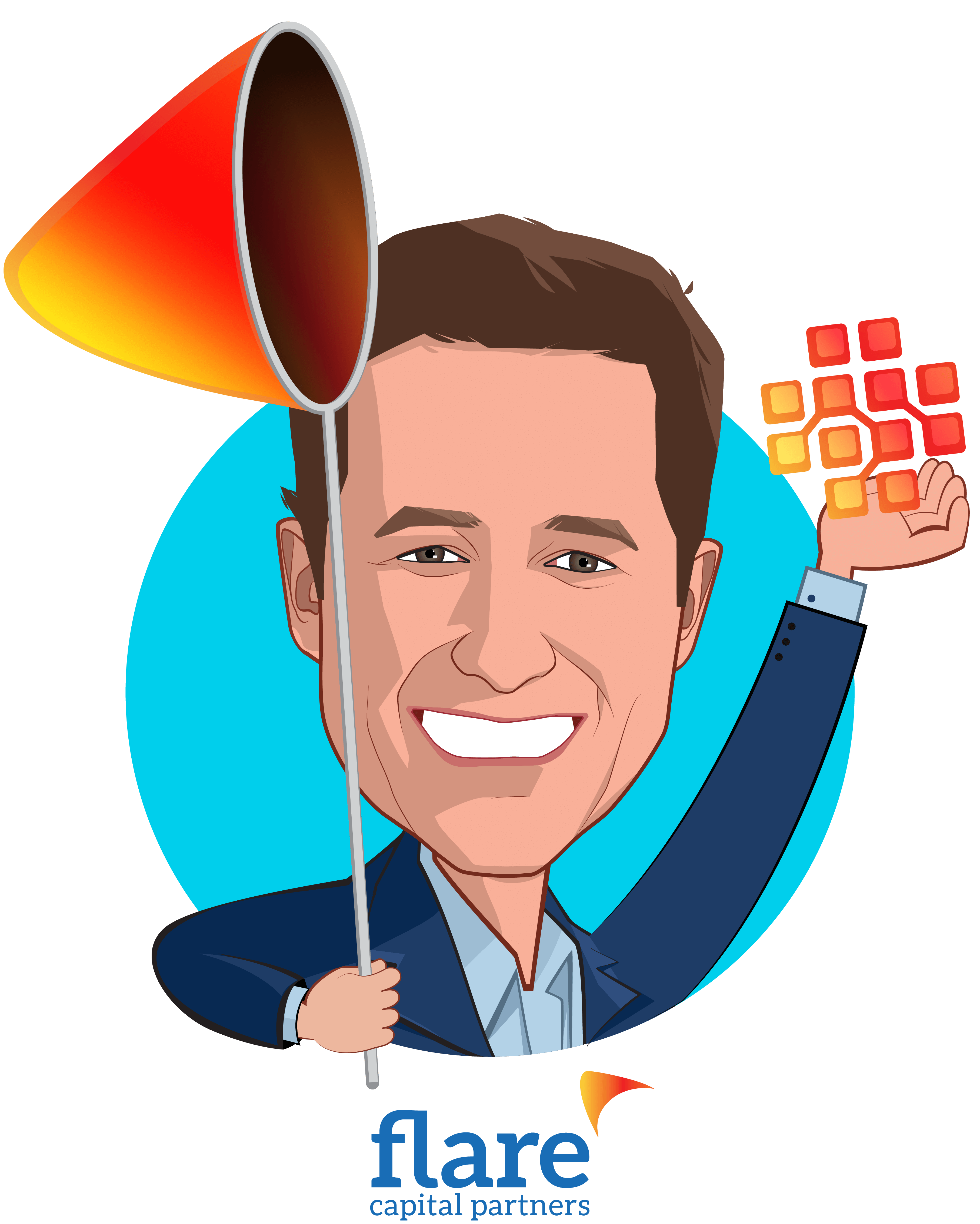 Overlay caricature of Bill Geary, who is speaking at HLTH and is Cofounder and Partner at Flare Capital Partners