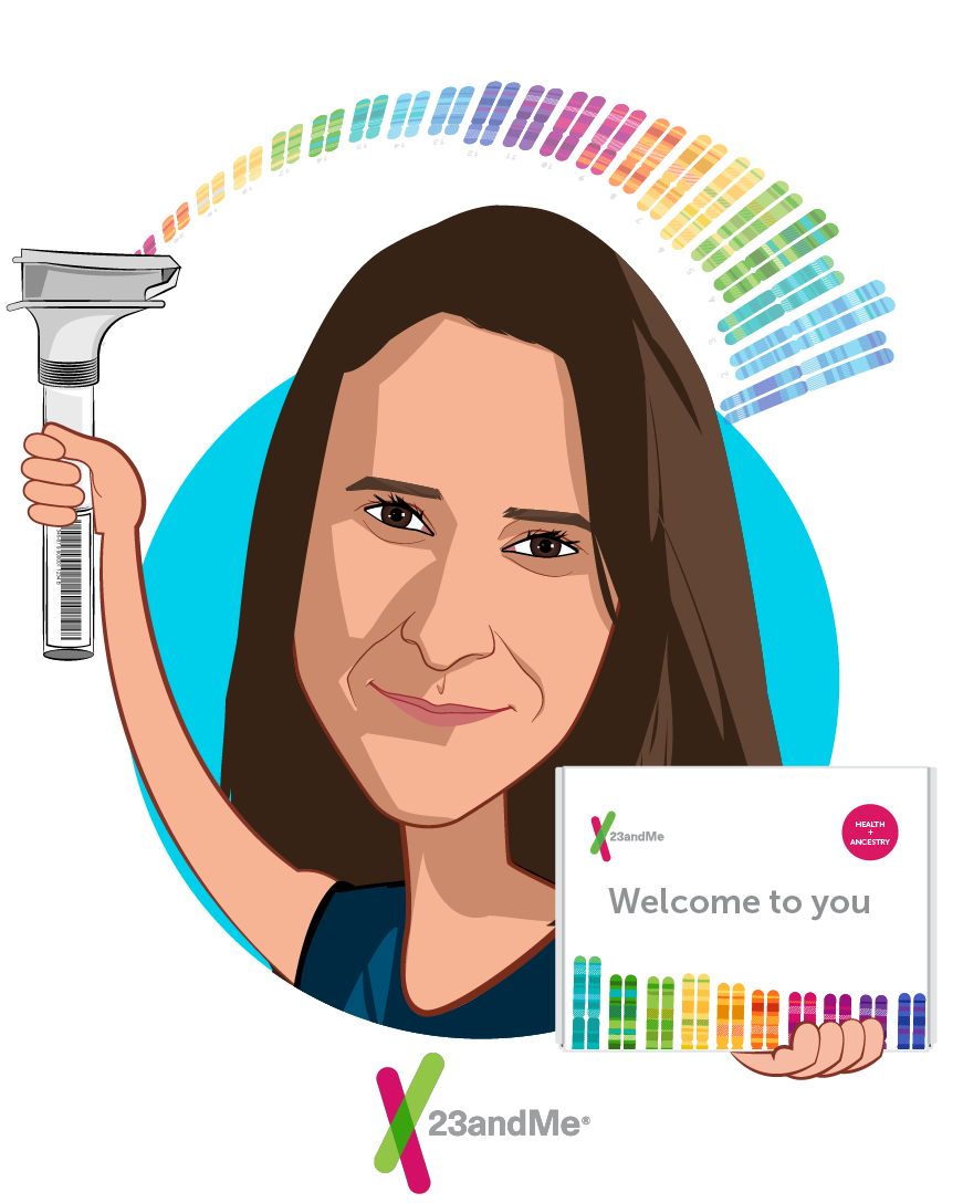 Caricature of Anne Wojcicki, who is speaking at HLTH