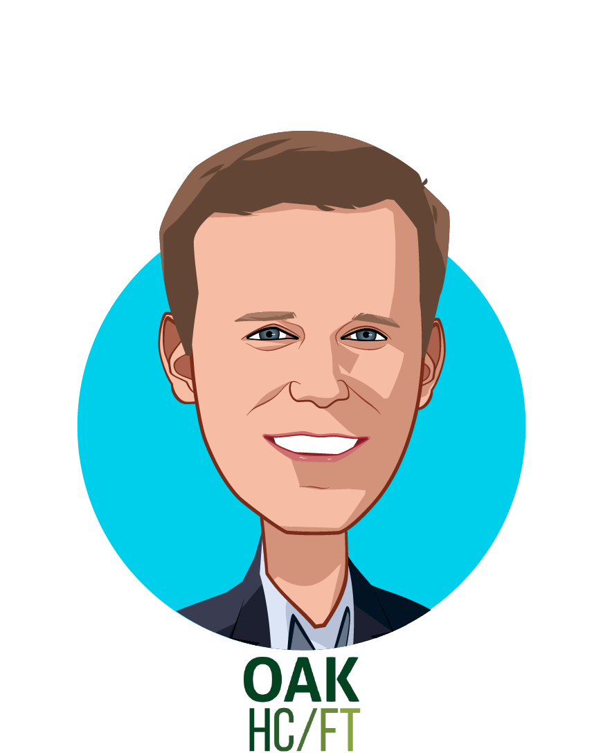 Main caricature of Andrew Adams, who is speaking at HLTH and is Co-Founder & Managing Partner at Oak HC/FT