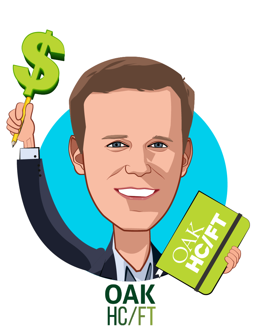 Overlay caricature of Andrew Adams, who is speaking at HLTH and is Co-Founder & Managing Partner at Oak HC/FT