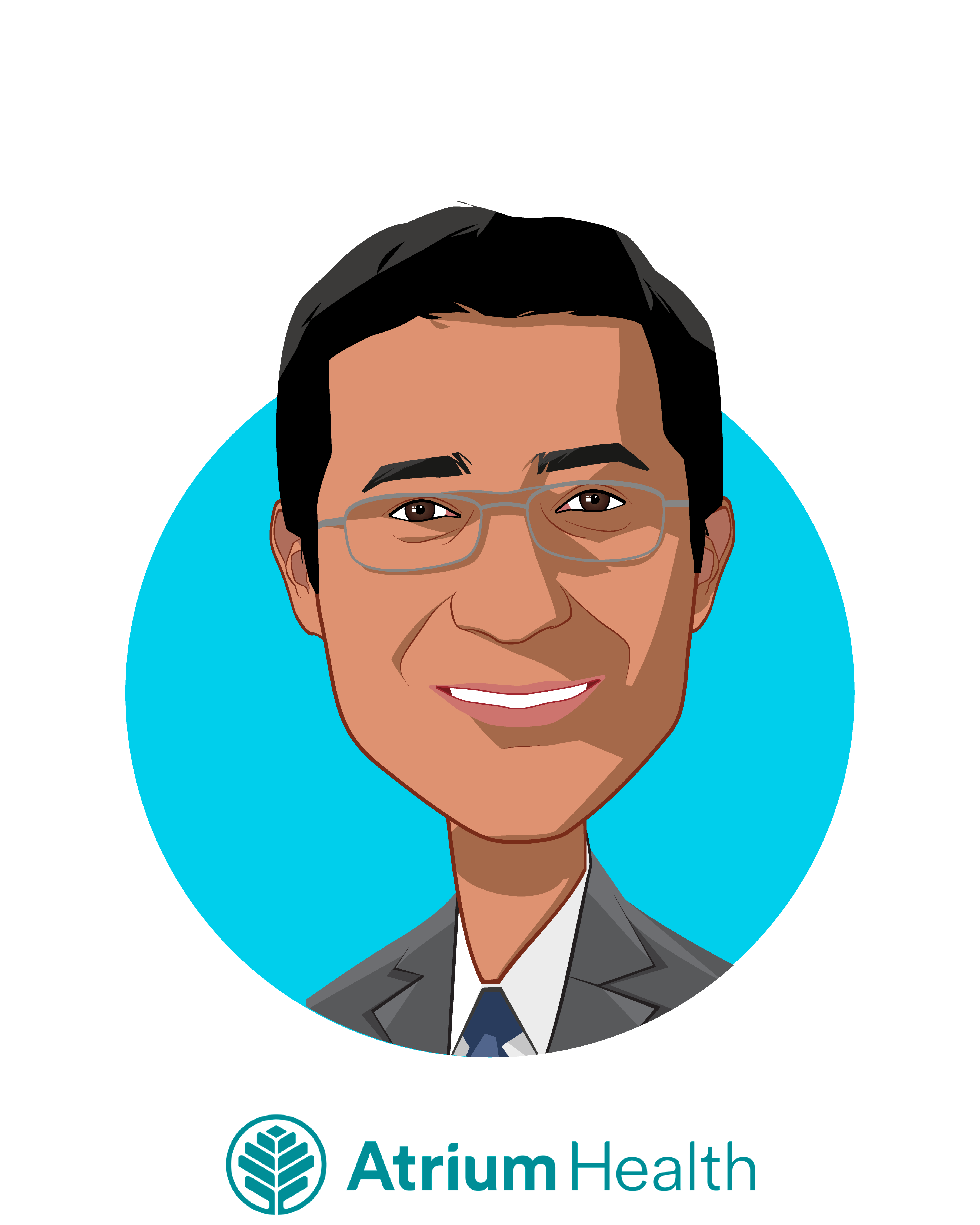 Main caricature of Rasu Shrestha, MD, MBA, who is speaking at HLTH and is Executive Vice President & Chief Strategy Officer  at Atrium Health