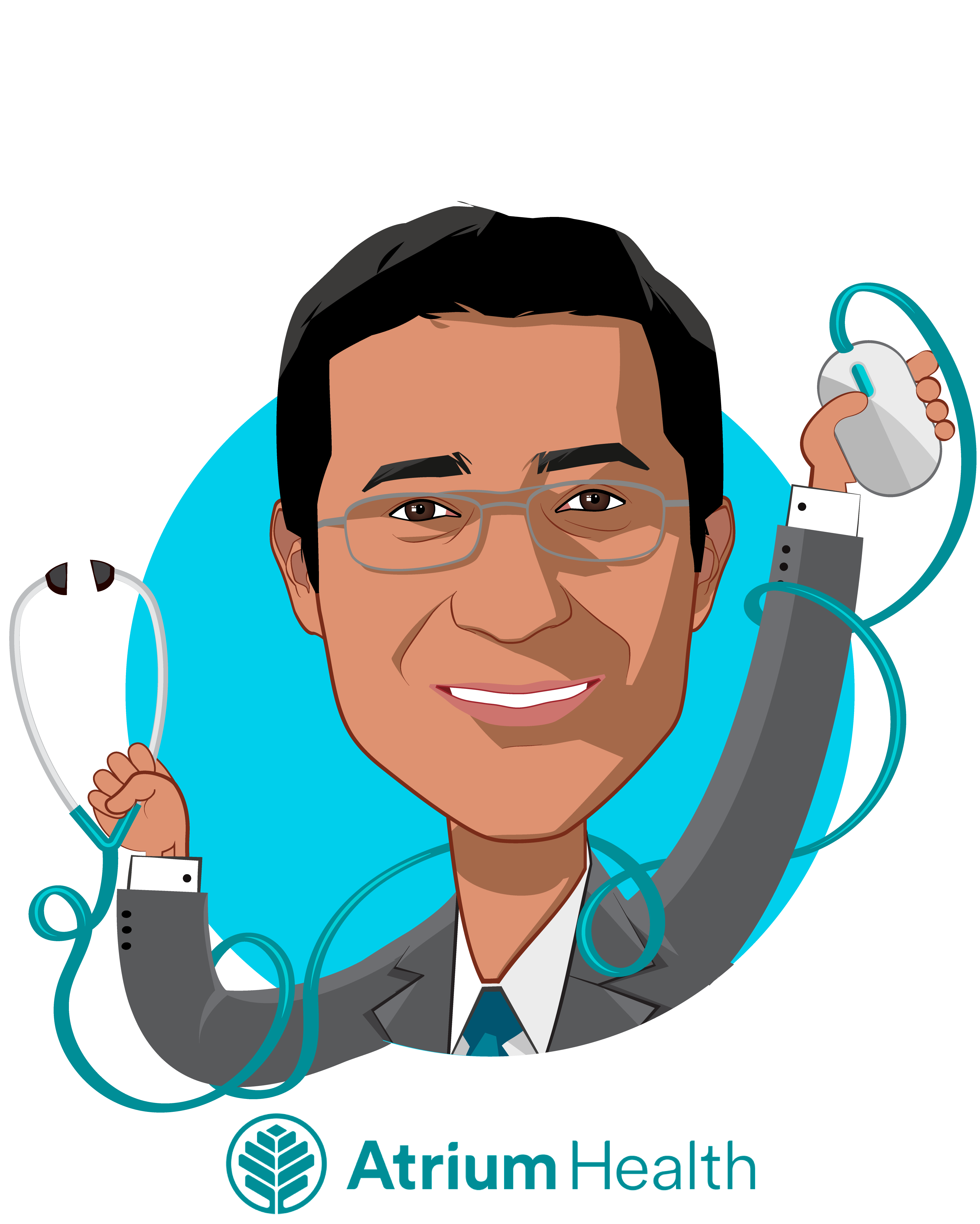 Overlay caricature of Rasu Shrestha, MD, MBA, who is speaking at HLTH and is Executive Vice President & Chief Strategy Officer  at Atrium Health