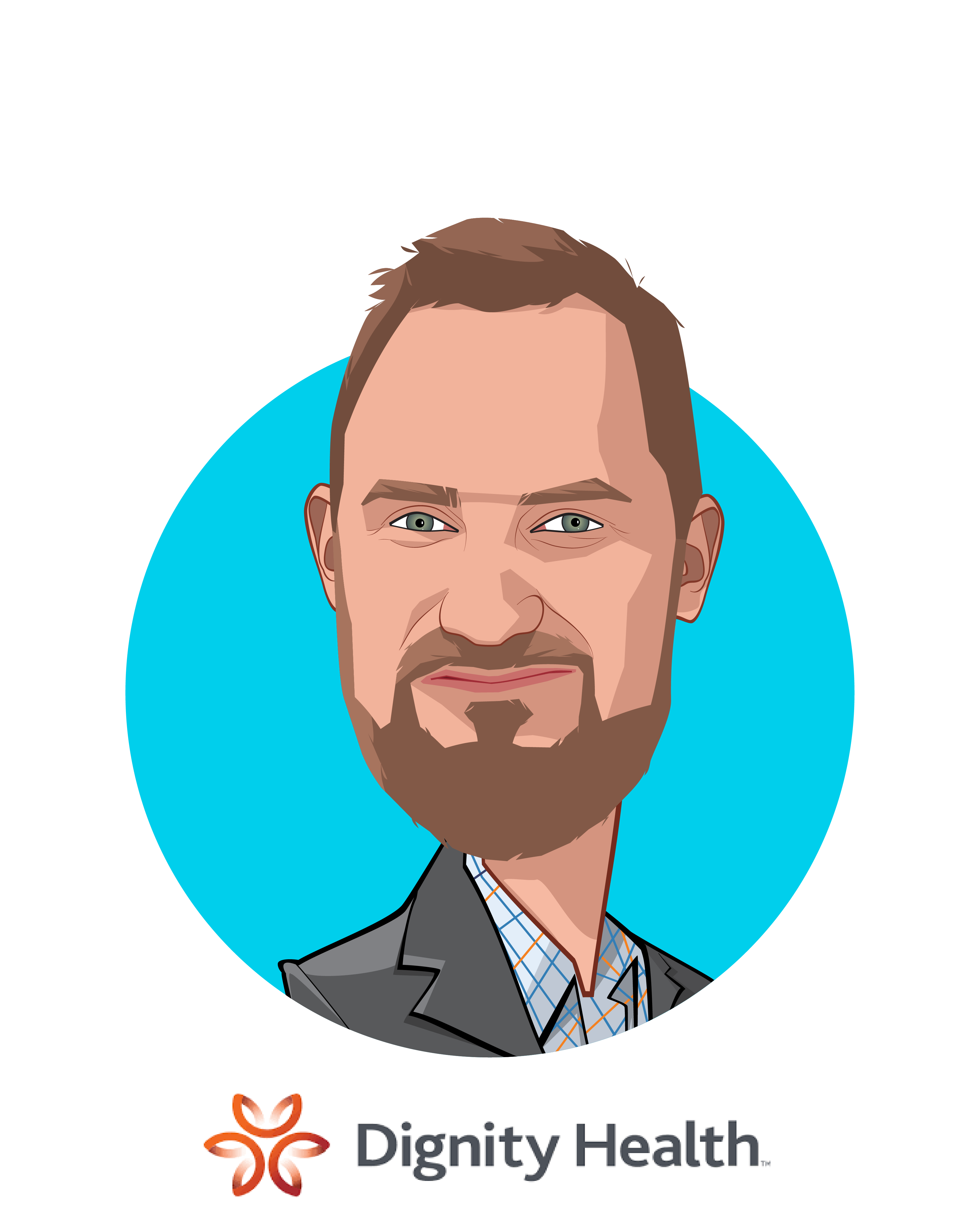 Main caricature of Rich Roth, who is speaking at HLTH and is Senior Vice President and Chief Strategic Innovation Officer  at CommonSpiritHealth