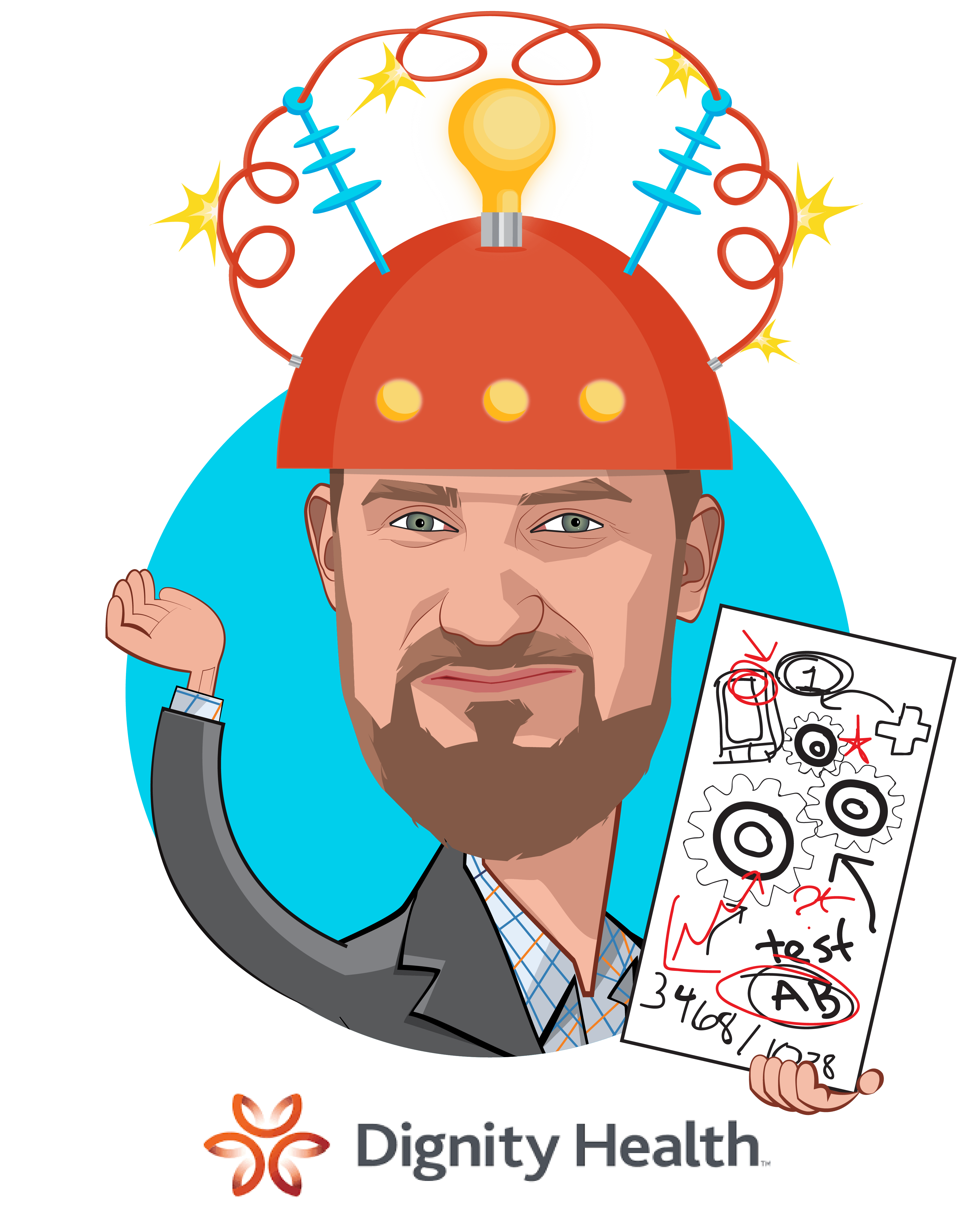 Overlay caricature of Rich Roth, who is speaking at HLTH and is Senior Vice President and Chief Strategic Innovation Officer  at CommonSpiritHealth