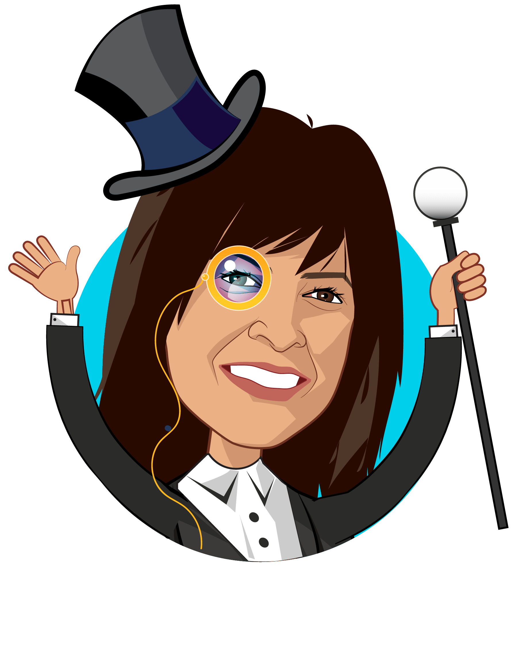 Overlay caricature of Ana Gupte, who is speaking at HLTH and is Healthcare Policy Analyst at