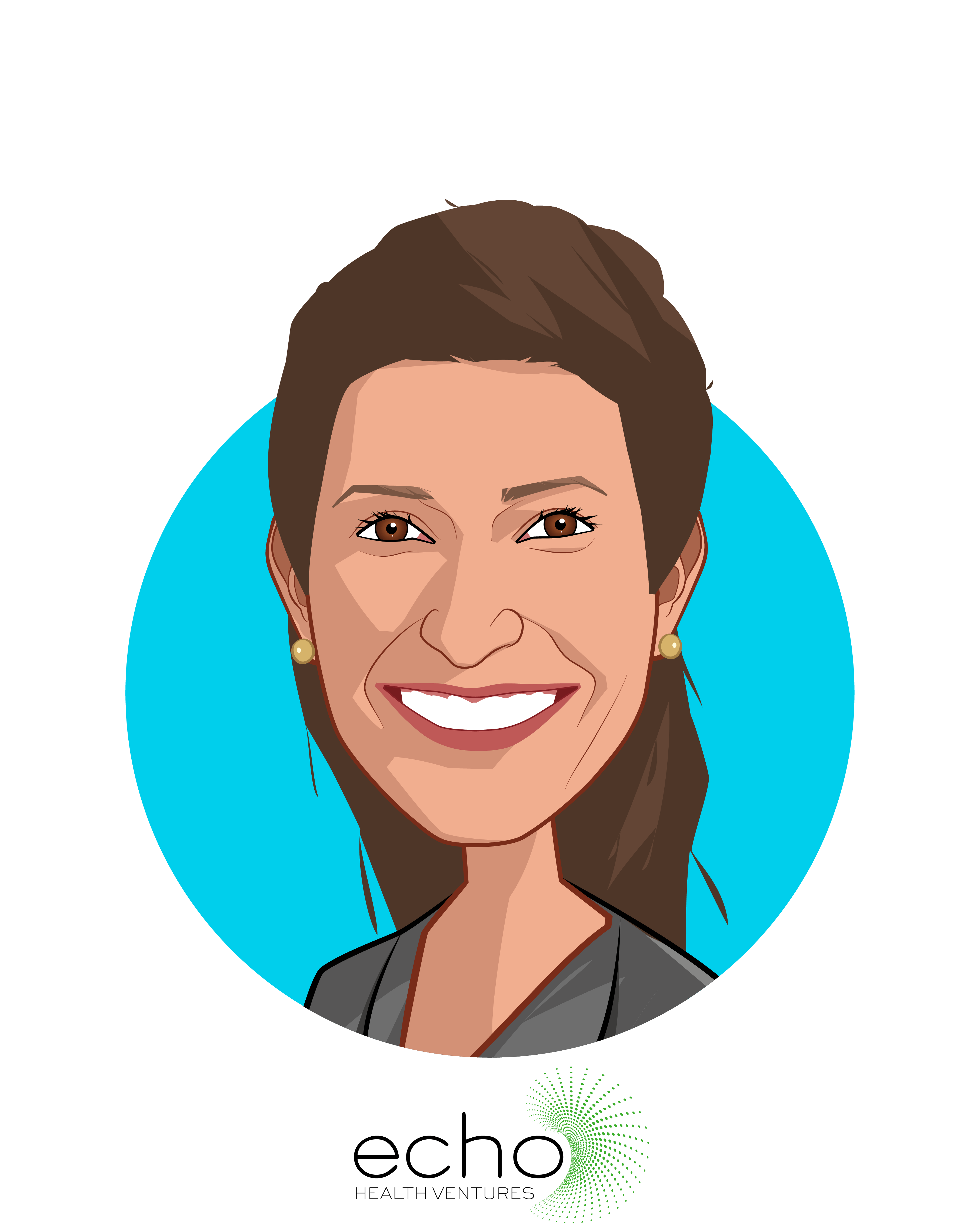 Main caricature of Jessica Zeaske, who is speaking at HLTH and is Partner at Echo Health Ventures