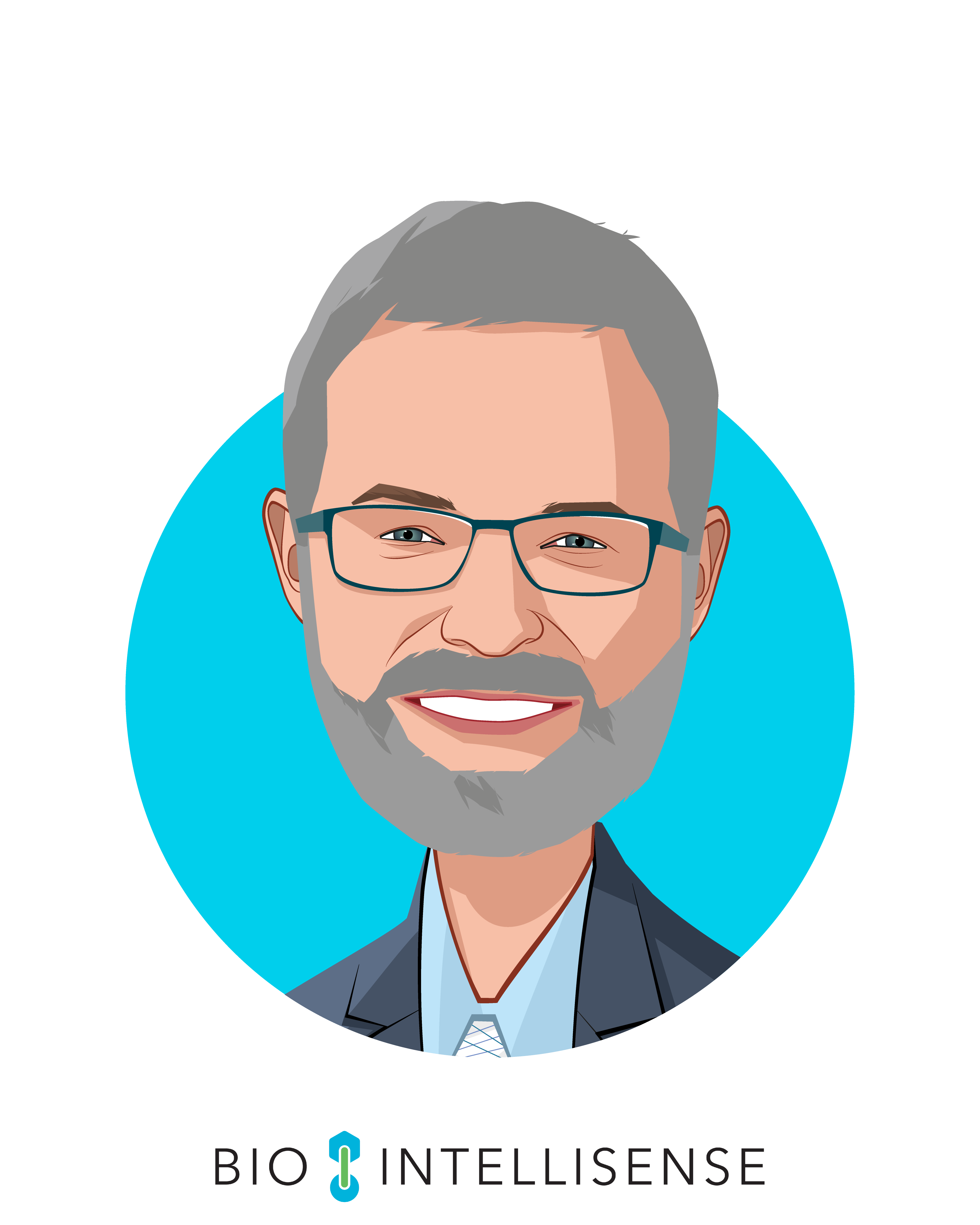 Main caricature of James Mault, MD, FACS, who is speaking at HLTH and is CEO at BioIntelliSense