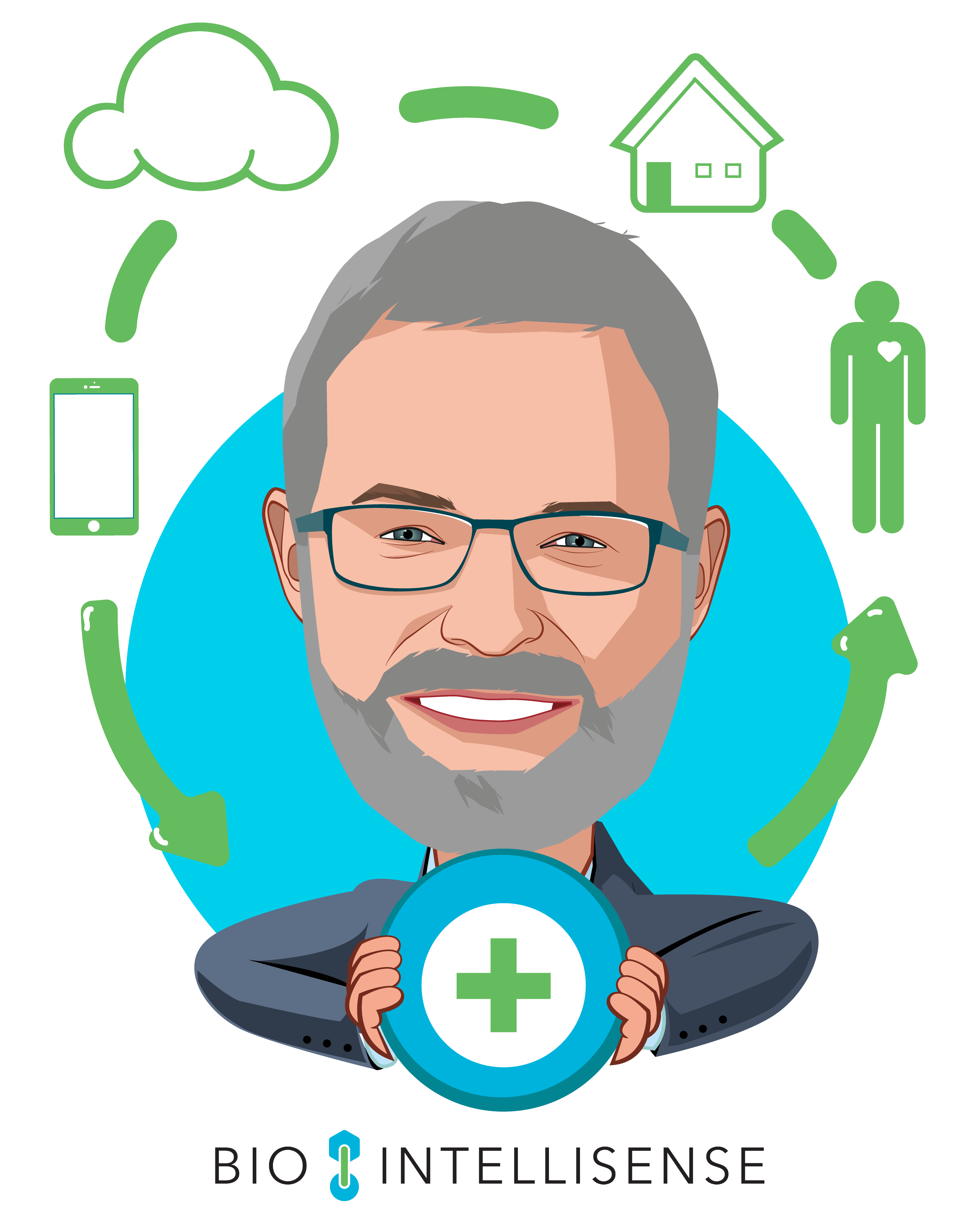Overlay caricature of James Mault, MD, FACS, who is speaking at HLTH and is CEO at BioIntelliSense