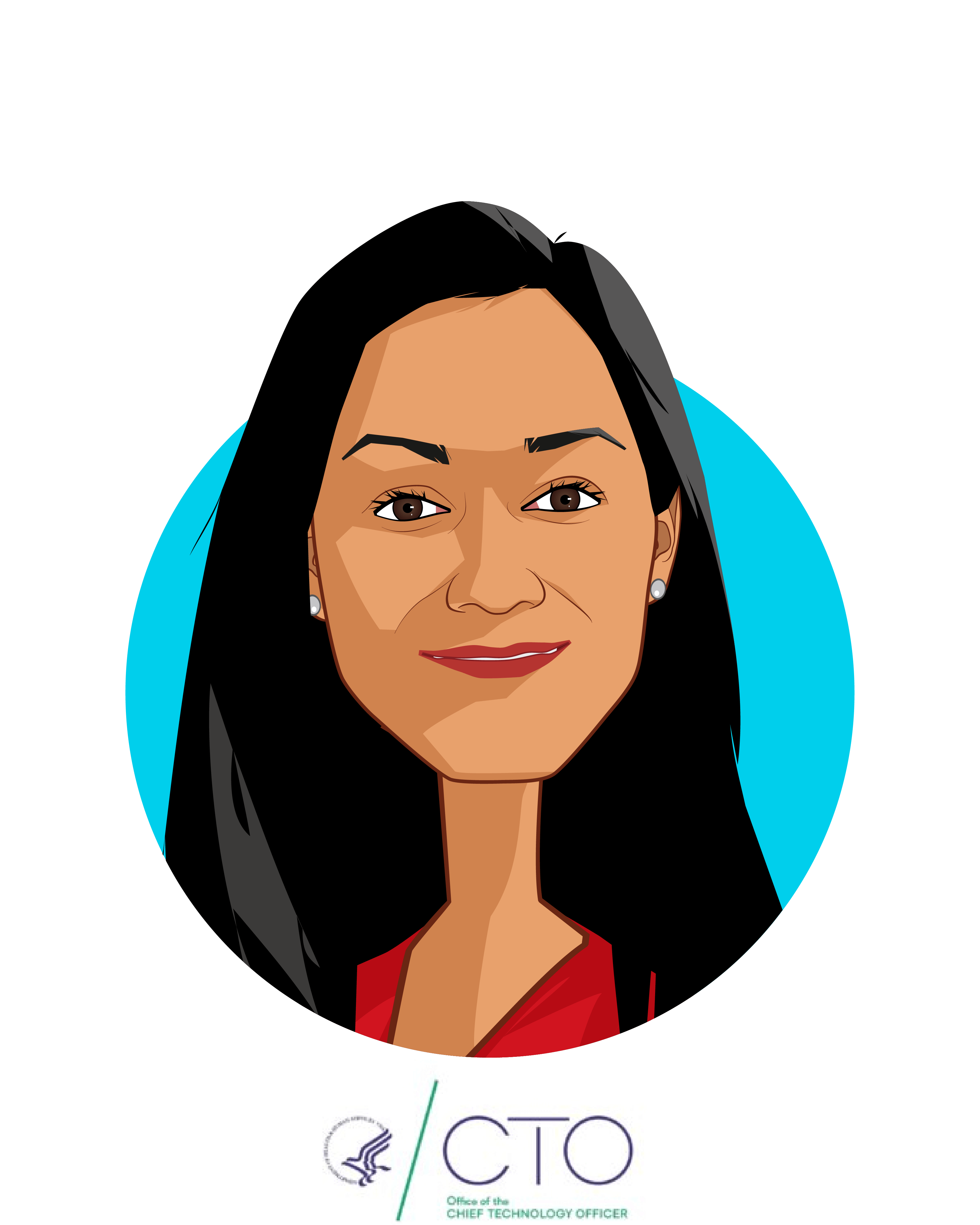 Main caricature of Mona Siddiqui, who is speaking at HLTH and is Chief Data Officer at Department of Health and Human Services