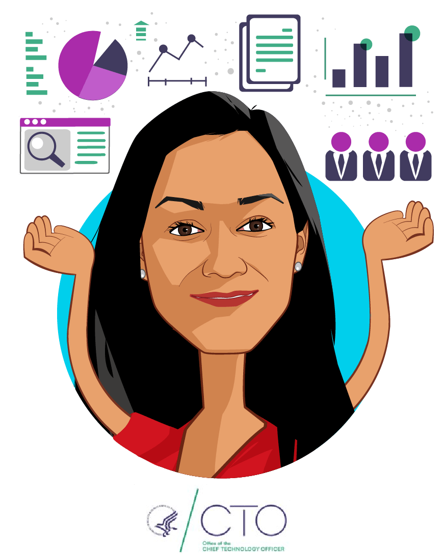 Overlay caricature of Mona Siddiqui, who is speaking at HLTH and is Chief Data Officer at Department of Health and Human Services