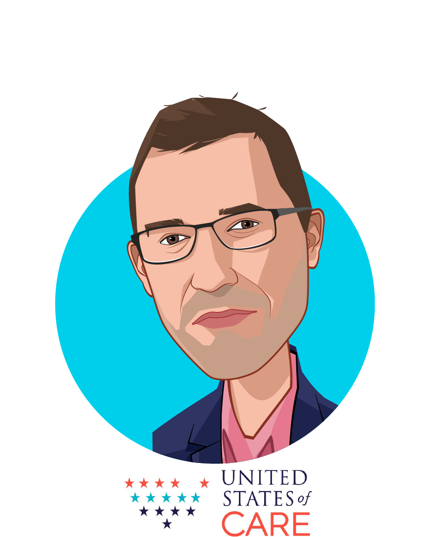 Main caricature of Andy Slavitt, who is speaking at HLTH and is Founder and Board Chair  at United States of Care