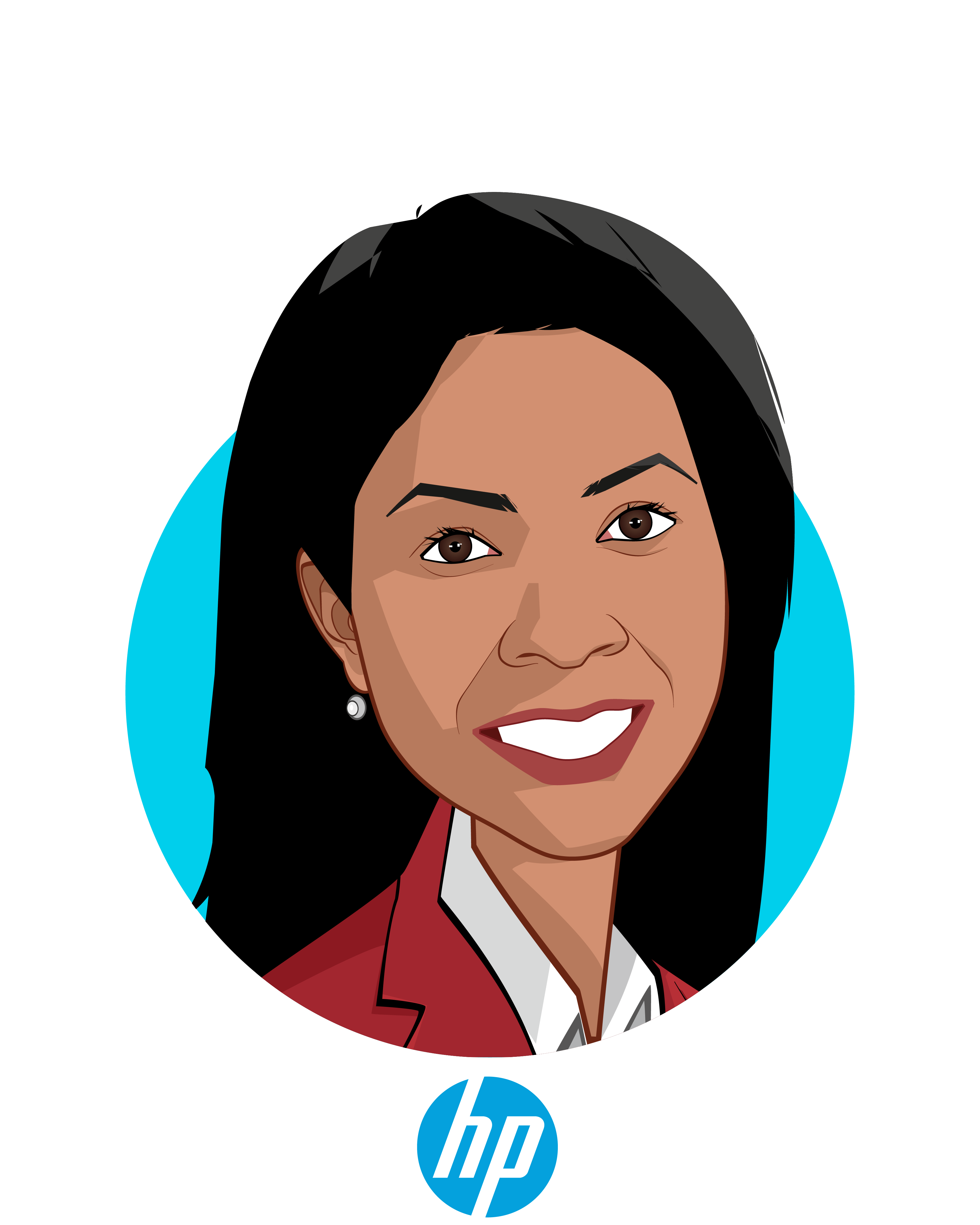 Main caricature of Fran Ayalasomayajula, who is speaking at HLTH and is Head of Population Health, Worldwide at HP