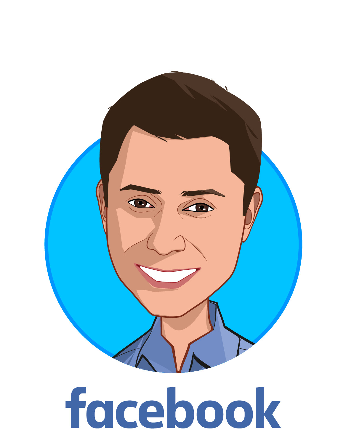 Main caricature of Freddy Abnousi, MD, MBA, MSc., who is speaking at HLTH and is Head of Healthcare, Research at Facebook