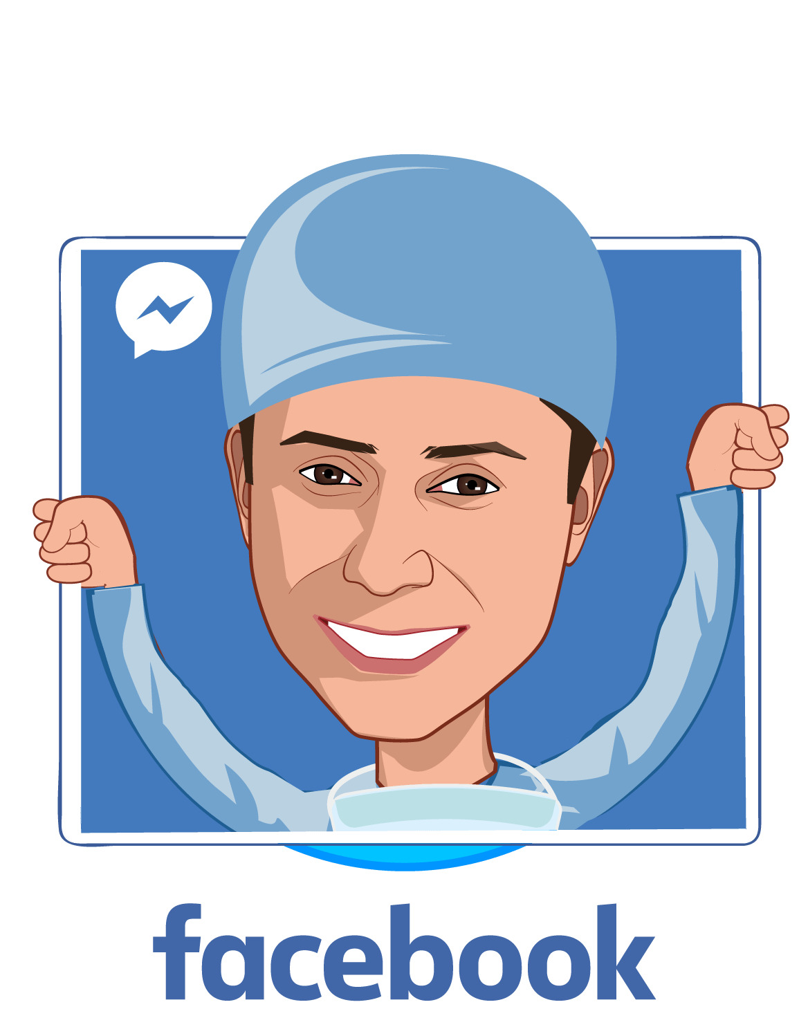 Overlay caricature of Freddy Abnousi, MD, MBA, MSc., who is speaking at HLTH and is Head of Healthcare, Research at Facebook