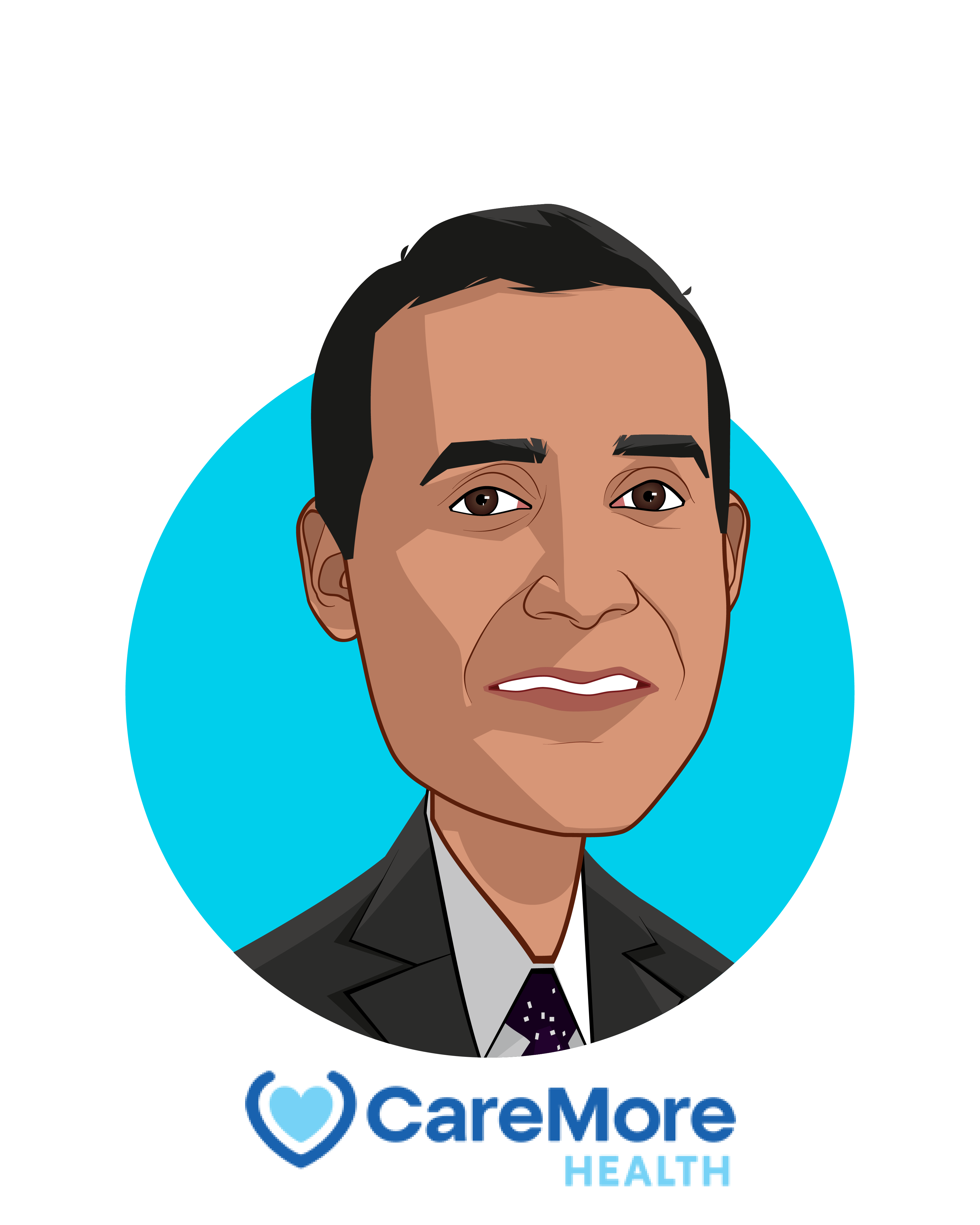 Main caricature of Sachin Jain, who is speaking at HLTH and is President and CEO at CareMore Health