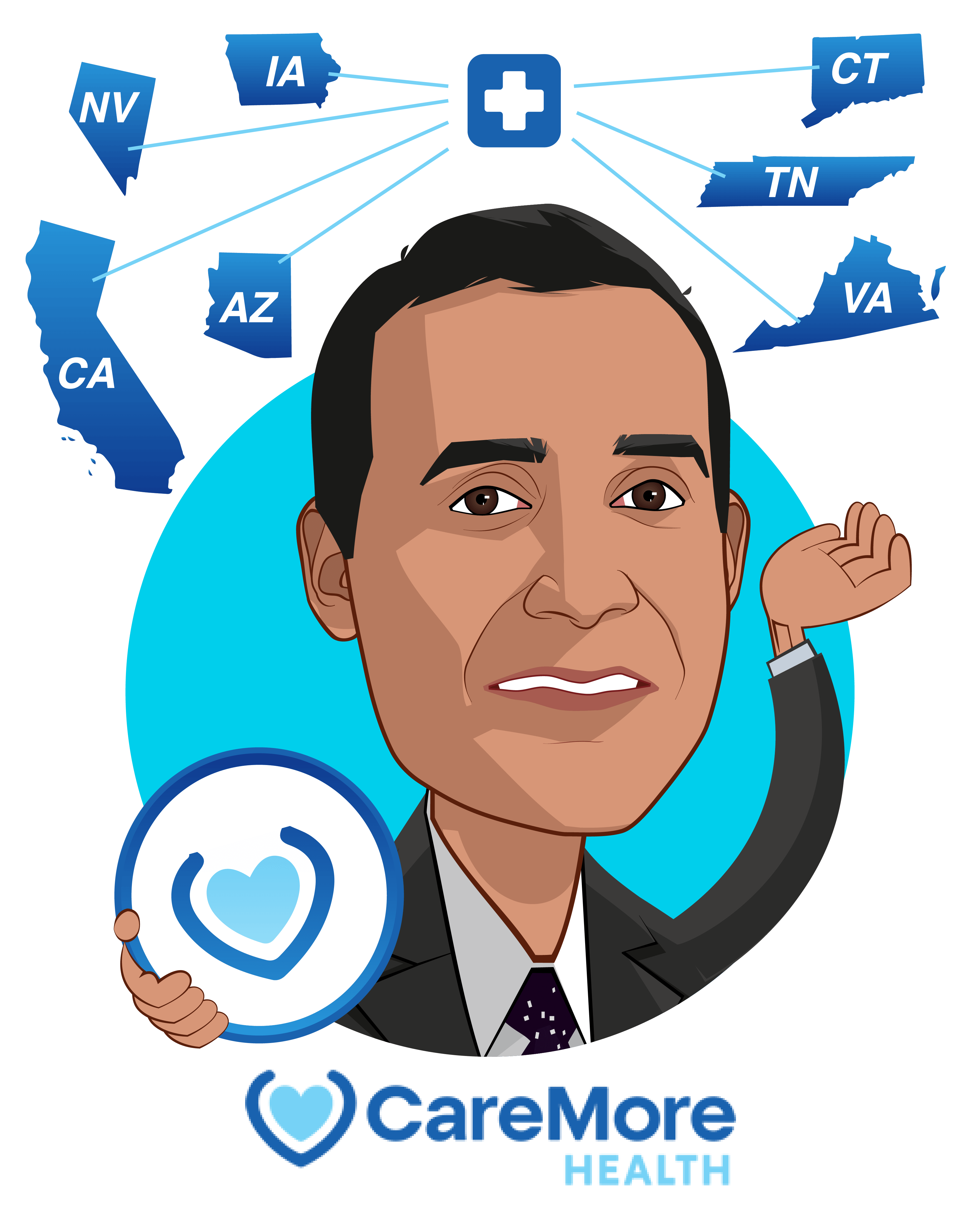 Overlay caricature of Sachin Jain, who is speaking at HLTH and is President and CEO at CareMore Health