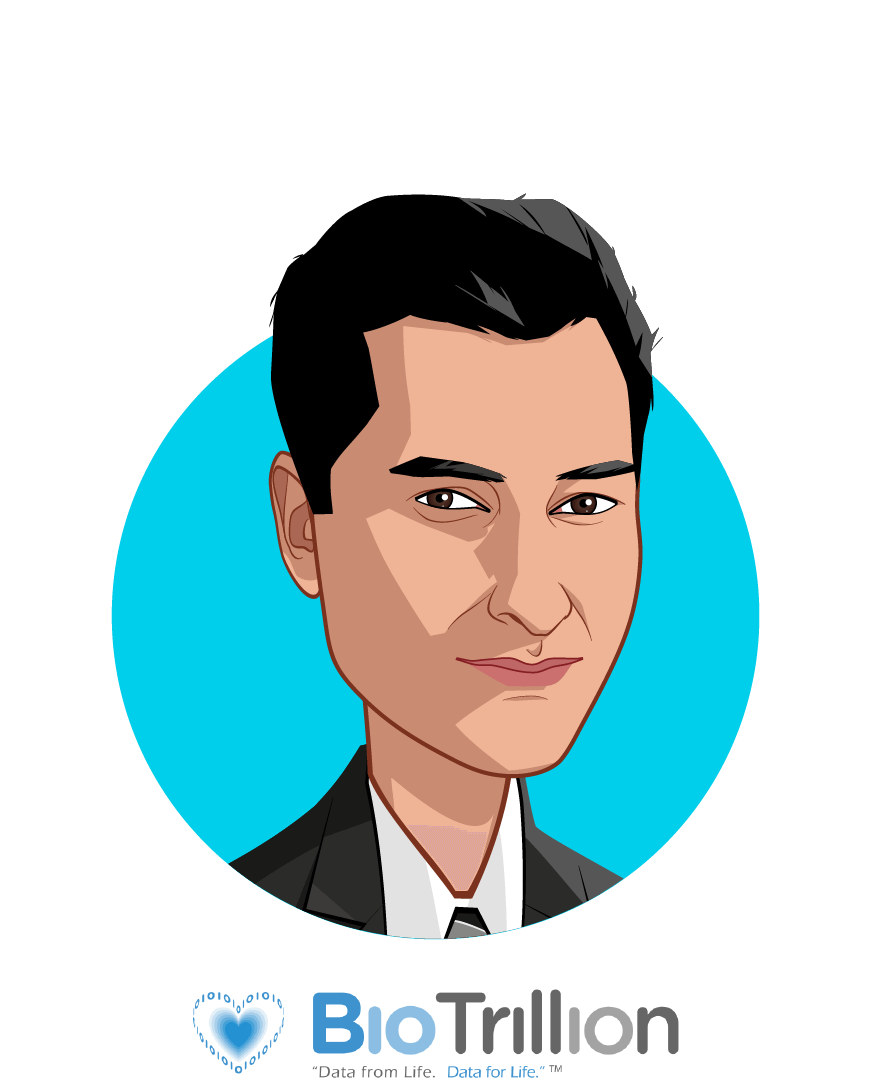 Main caricature of Savan Devani, who is speaking at HLTH and is Founder & CEO at BioTrillion, Inc.
