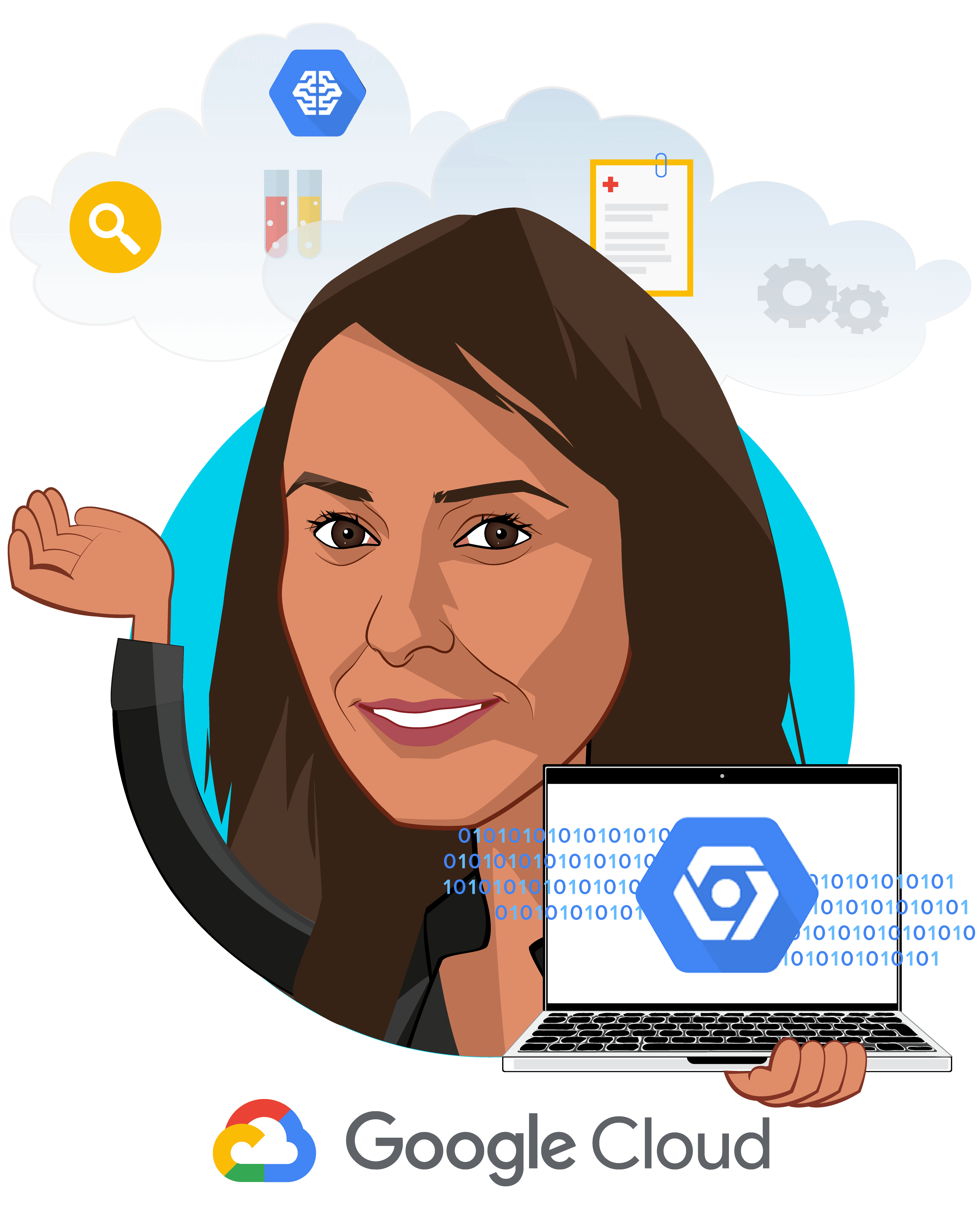 Overlay caricature of Aashima Gupta, who is speaking at HLTH and is Director, Global Healthcare Solutions at Google Cloud