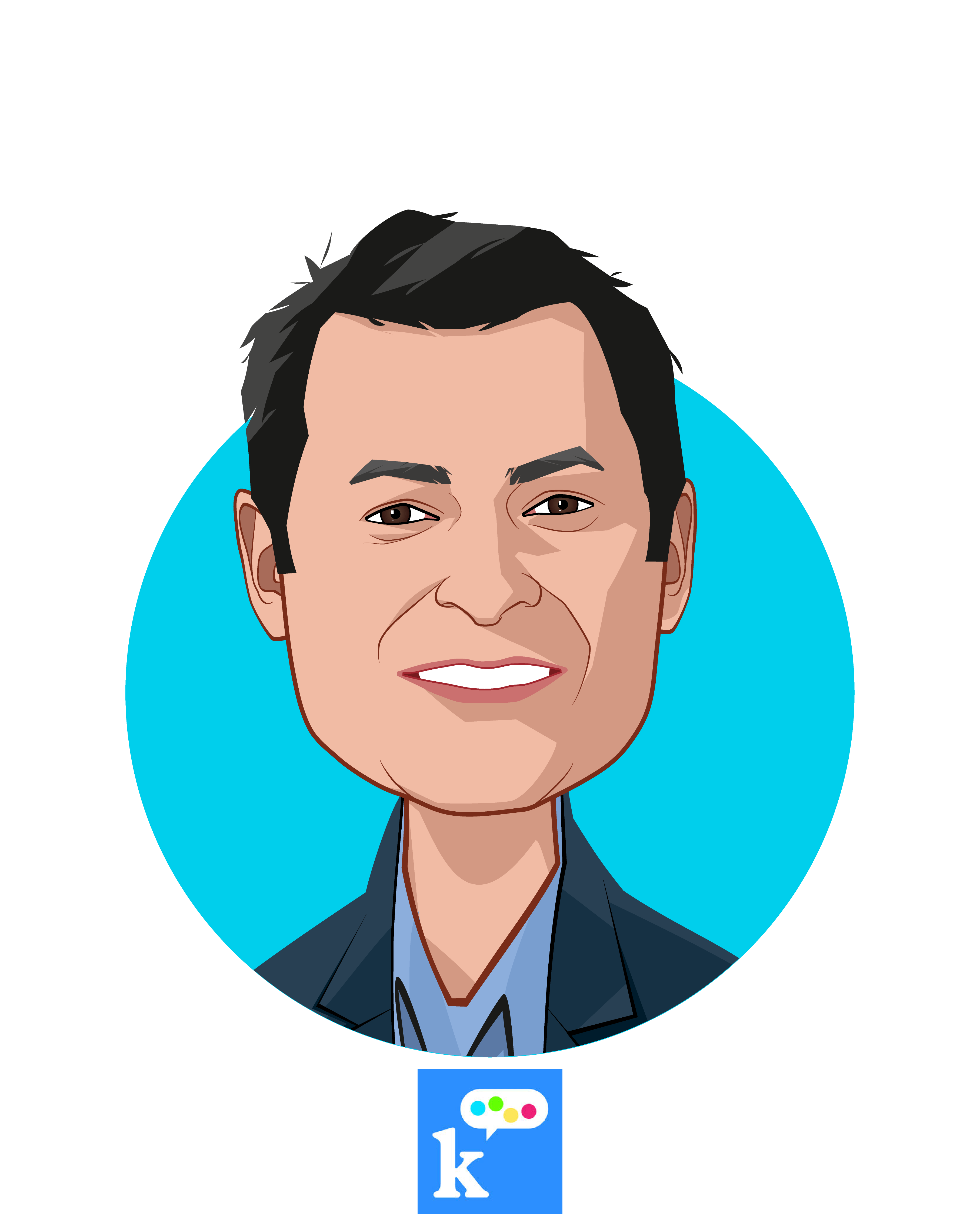 Main caricature of Allon Bloch, who is speaking at HLTH and is Co-Founder & CEO at K Health