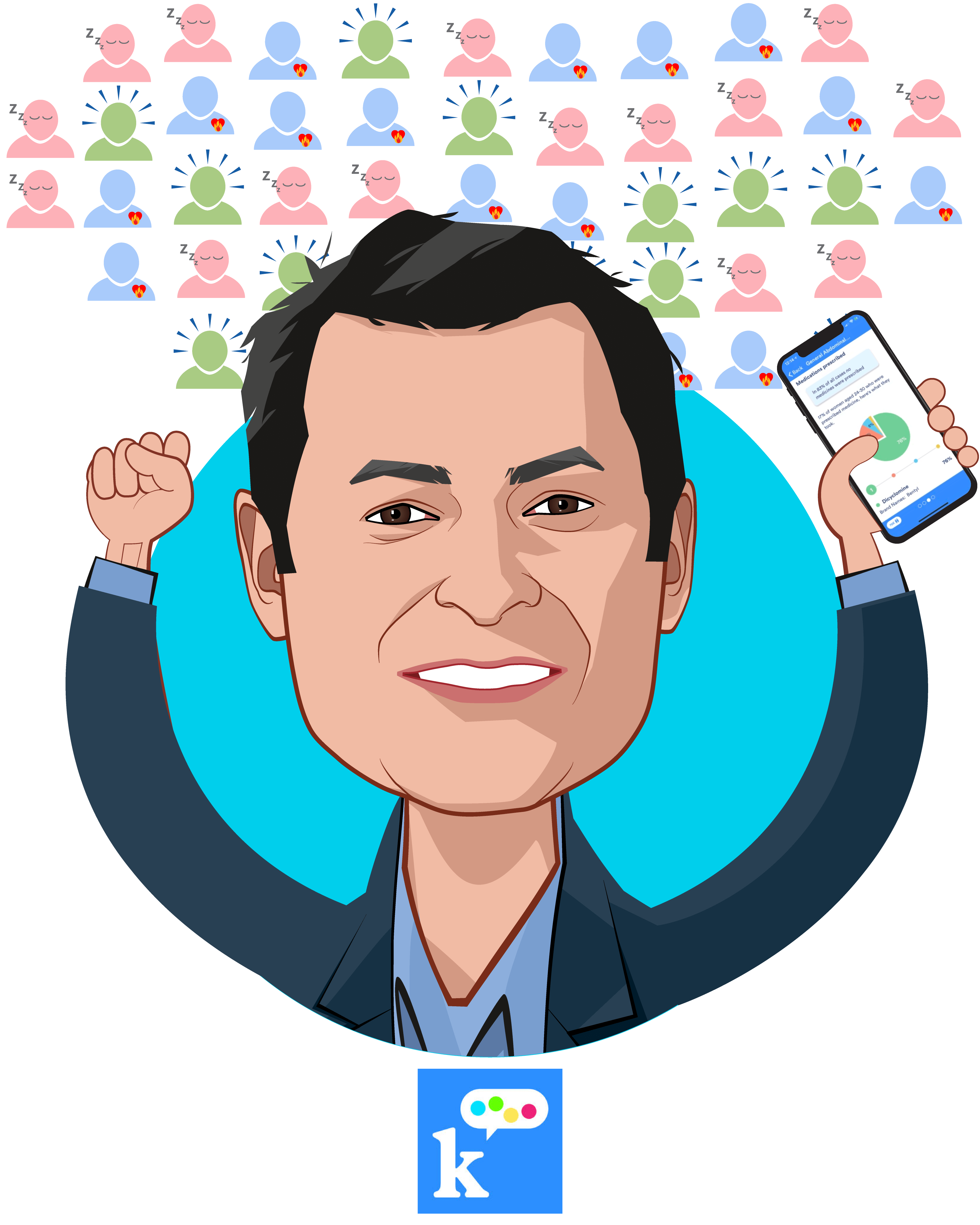 Overlay caricature of Allon Bloch, who is speaking at HLTH and is Co-Founder & CEO at K Health