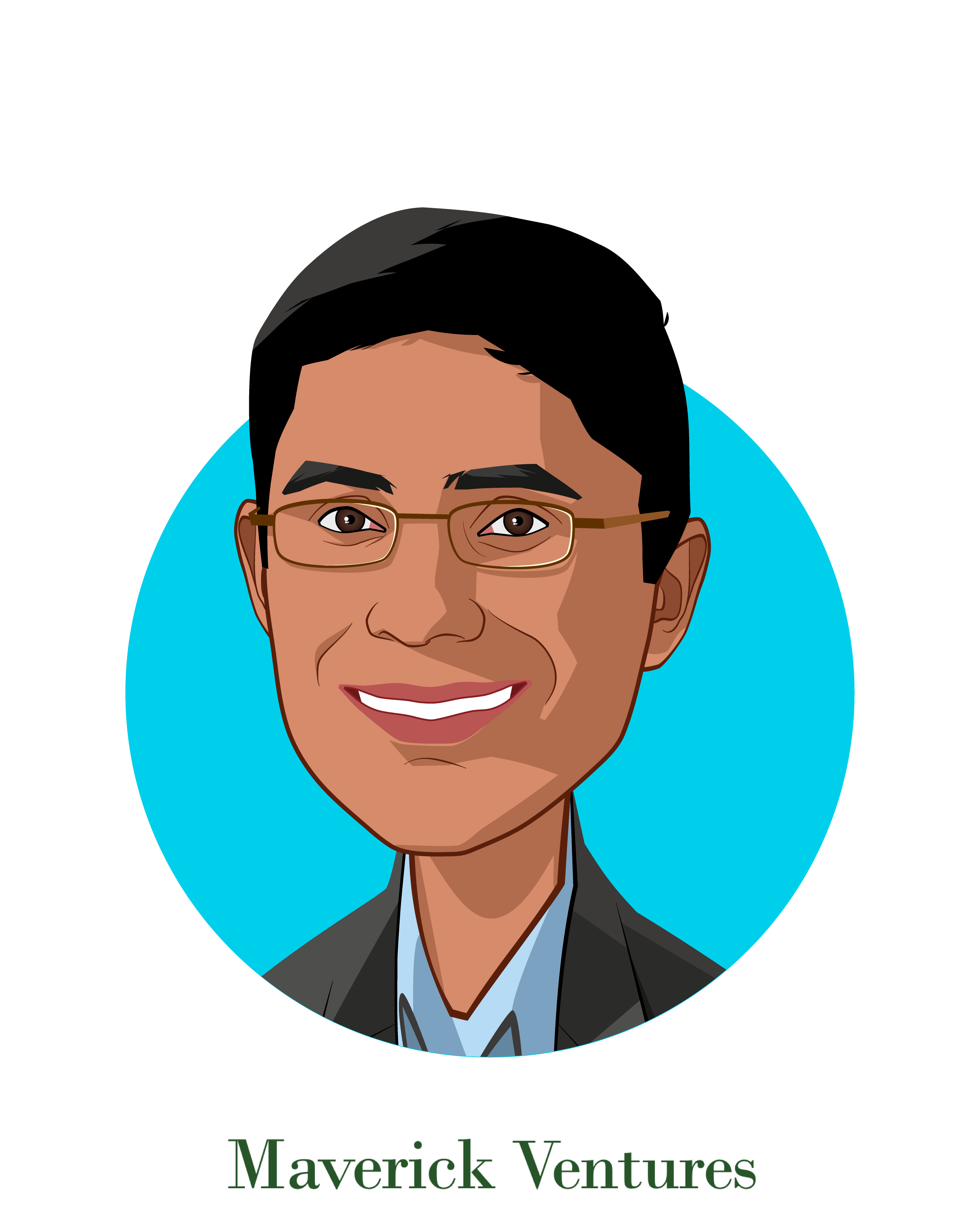 Main caricature of Ambar Bhattacharyya, who is speaking at HLTH and is Managing Director  at Maverick Ventures