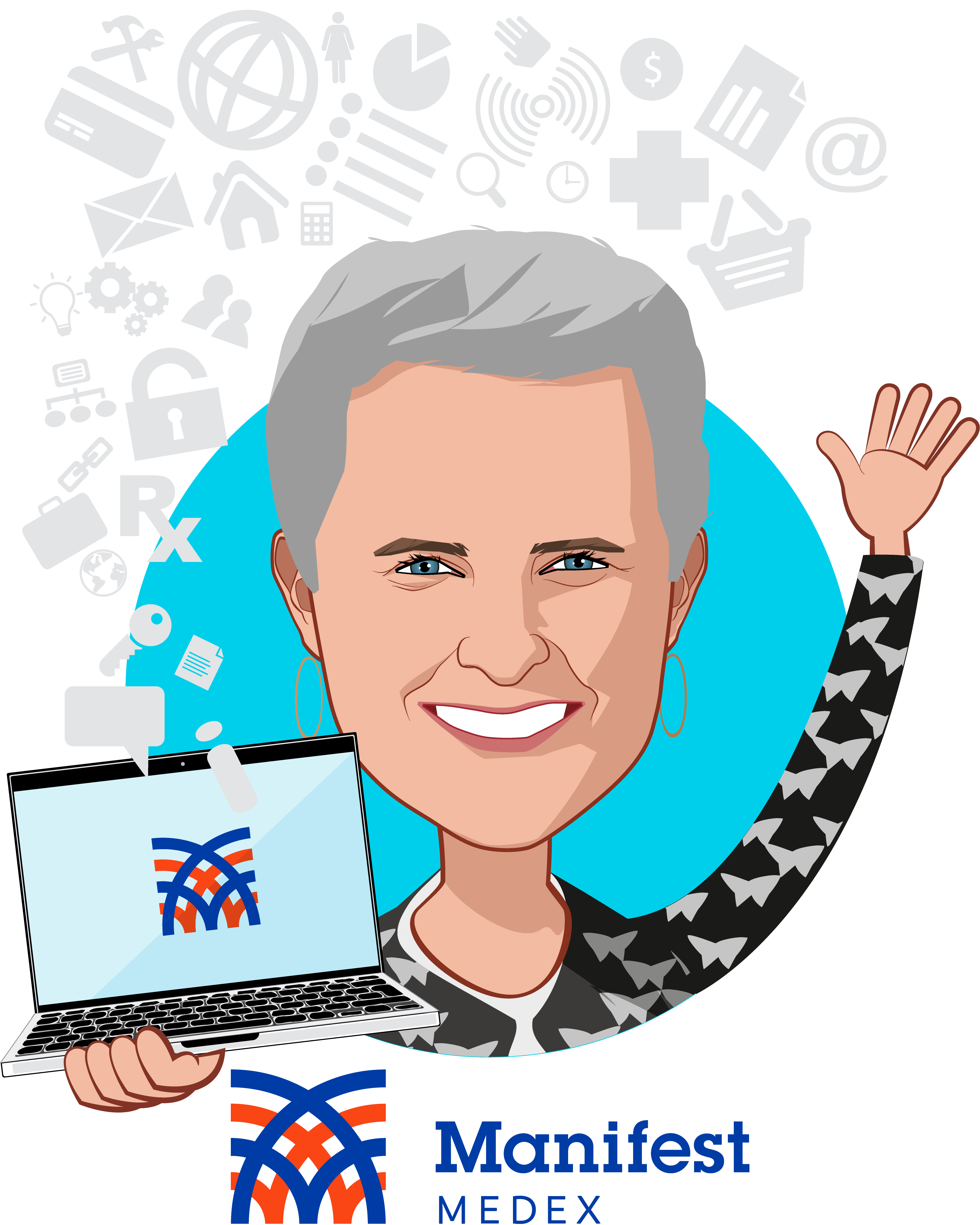 Overlay caricature of Claudia Williams, who is speaking at HLTH and is CEO at Manifest MedEx
