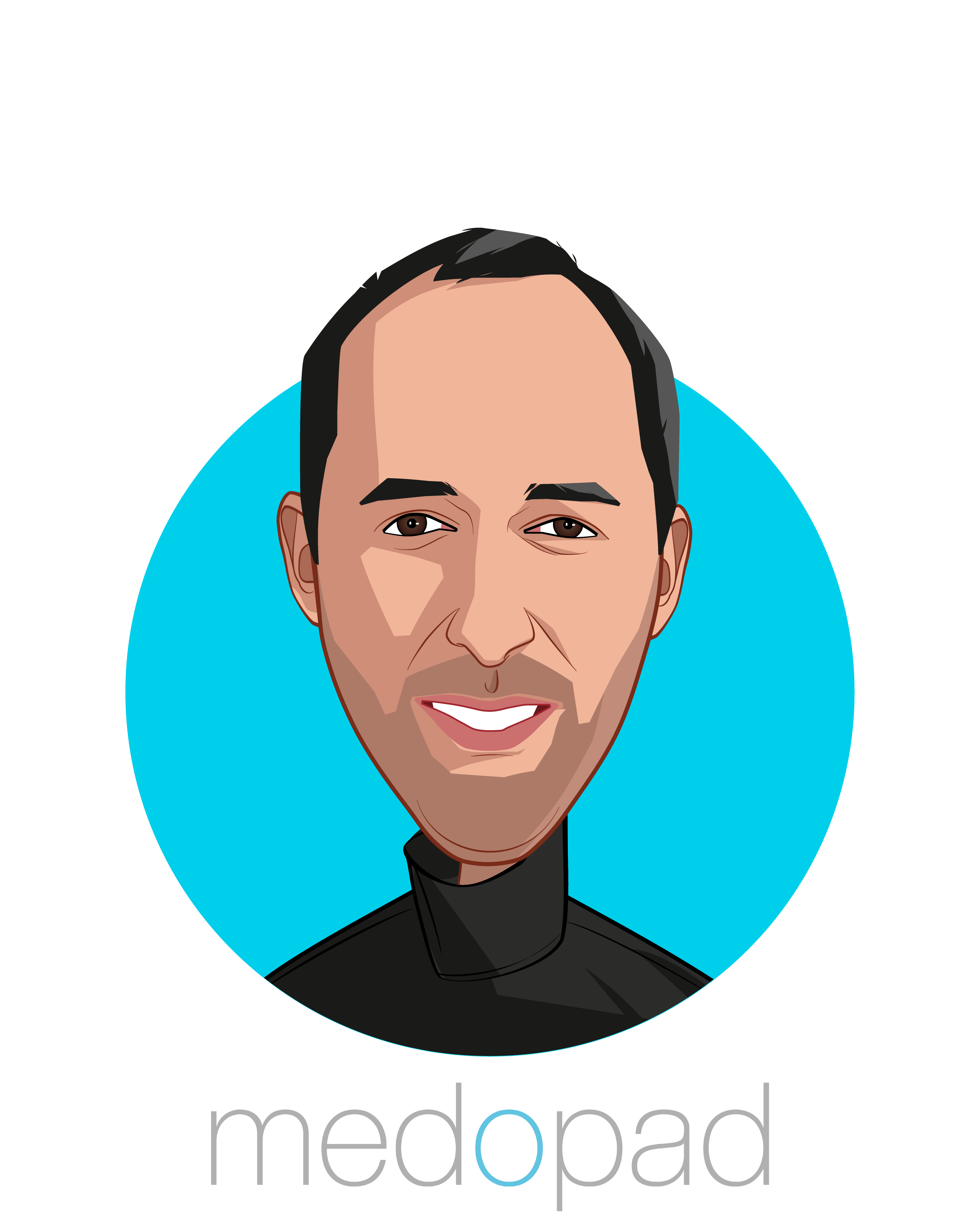 Main caricature of Dan Vahdat, who is speaking at HLTH and is Founder & CEO at Medopad