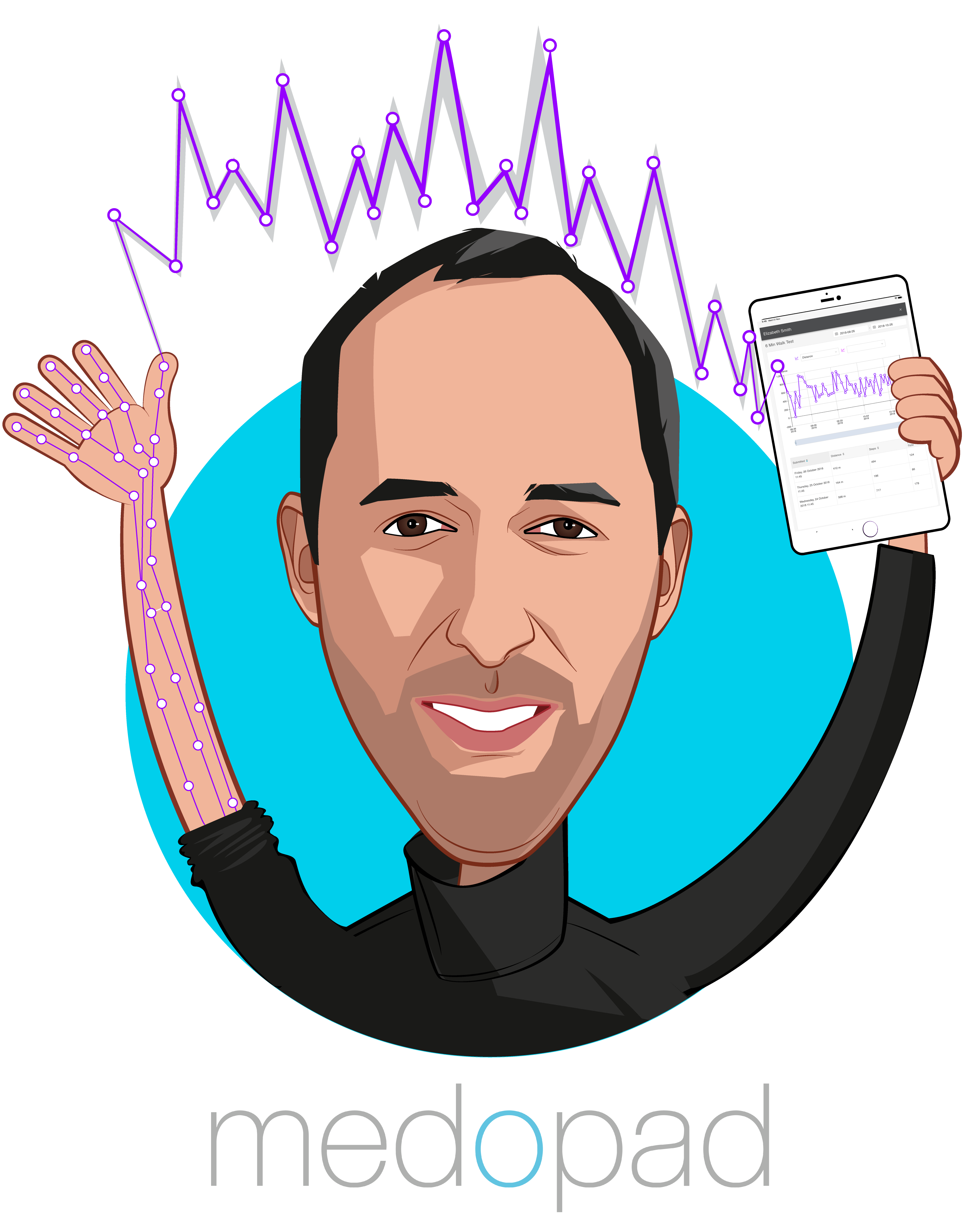 Overlay caricature of Dan Vahdat, who is speaking at HLTH and is Founder & CEO at Medopad