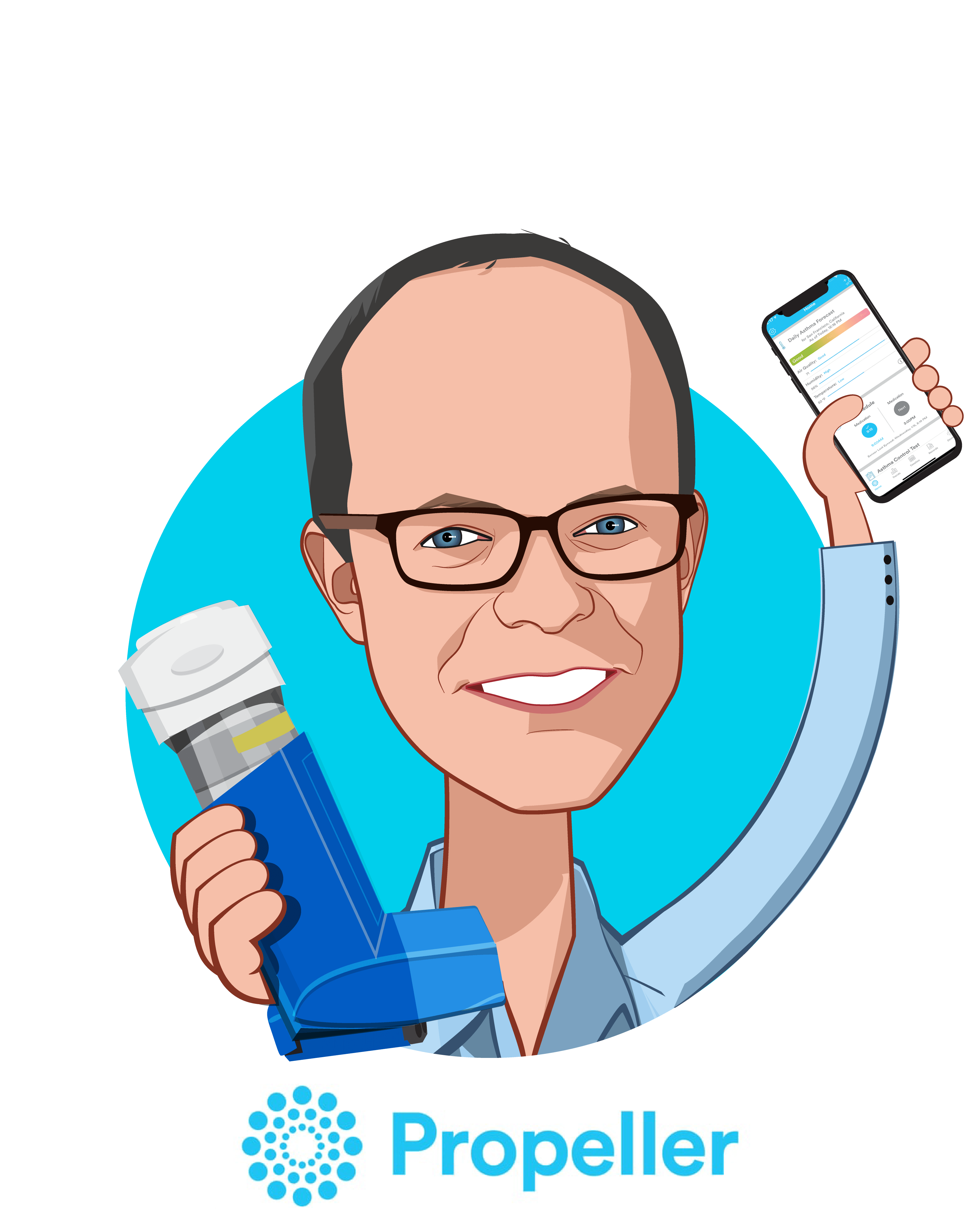 Overlay caricature of David Van Sickle, who is speaking at HLTH and is CEO & Co-Founder at Propeller Health