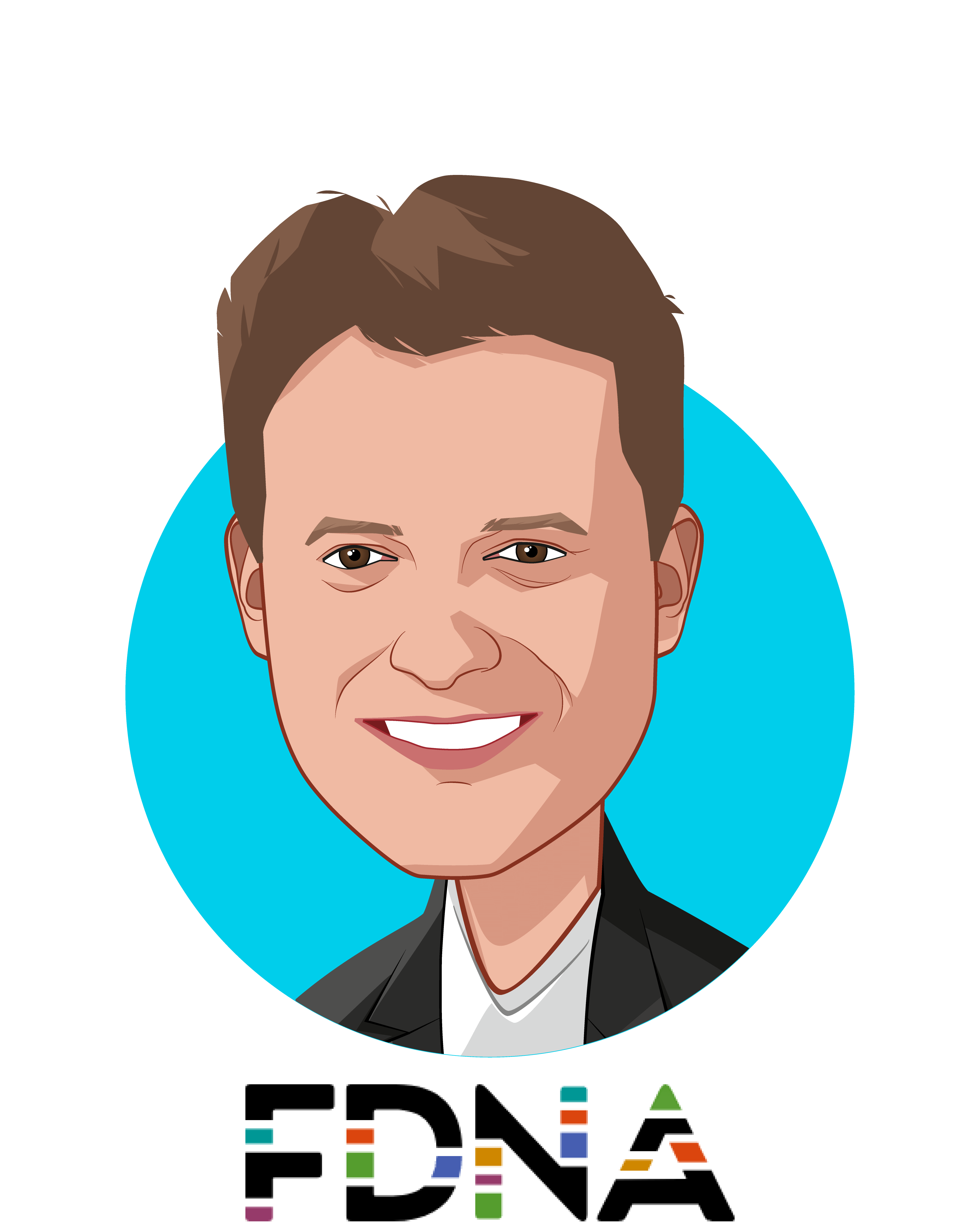 Main caricature of Dekel Gelbman, who is speaking at HLTH and is CEO at FDNA