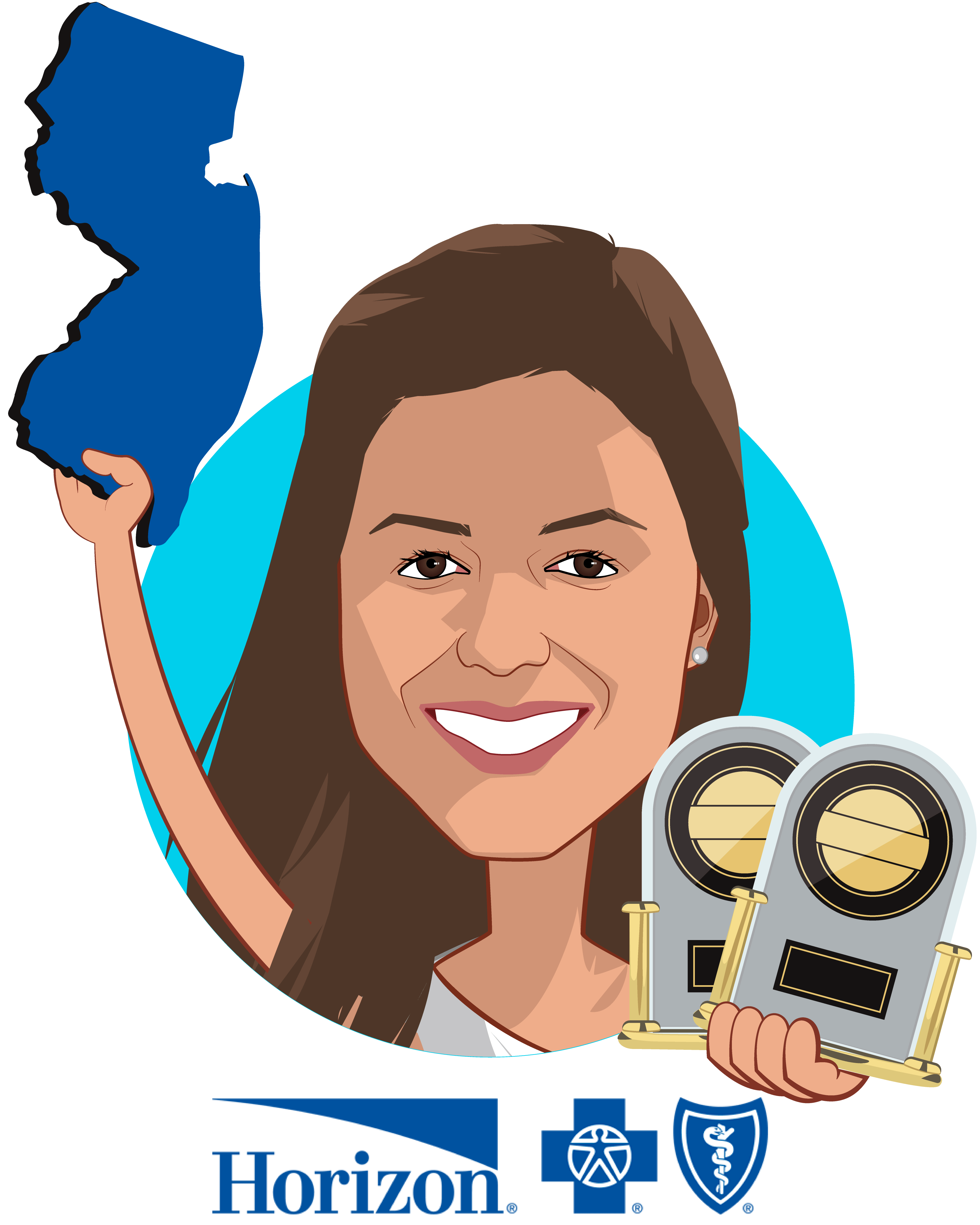 Overlay caricature of Divya Paliwal, MD, who is speaking at HLTH and is Chief Clinical Transformation Officer at Horizon Blue Cross Blue Shield of New Jersey