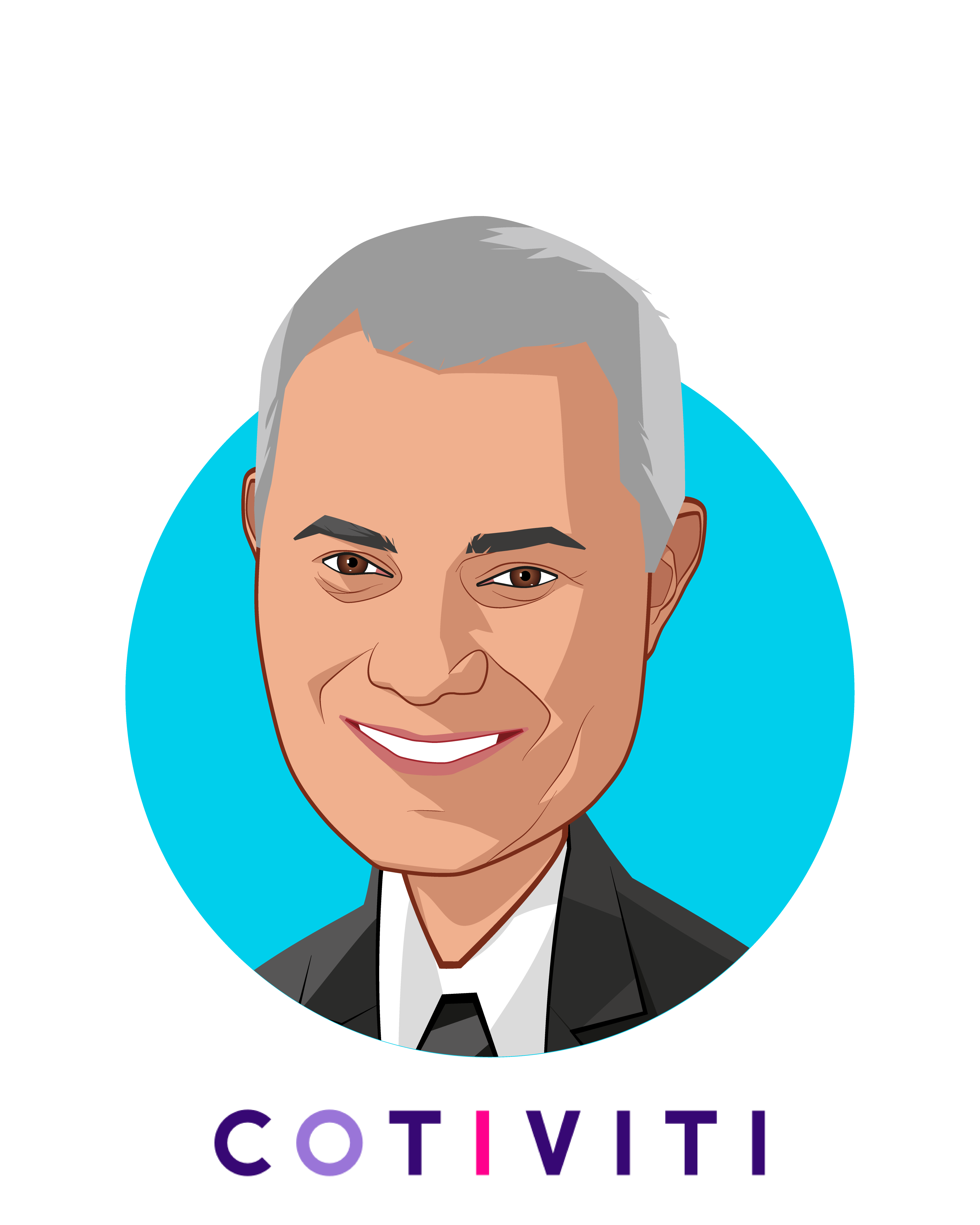 Main caricature of Emad Rizk, M.D., who is speaking at HLTH and is President and Chief Executive Officer at Cotiviti