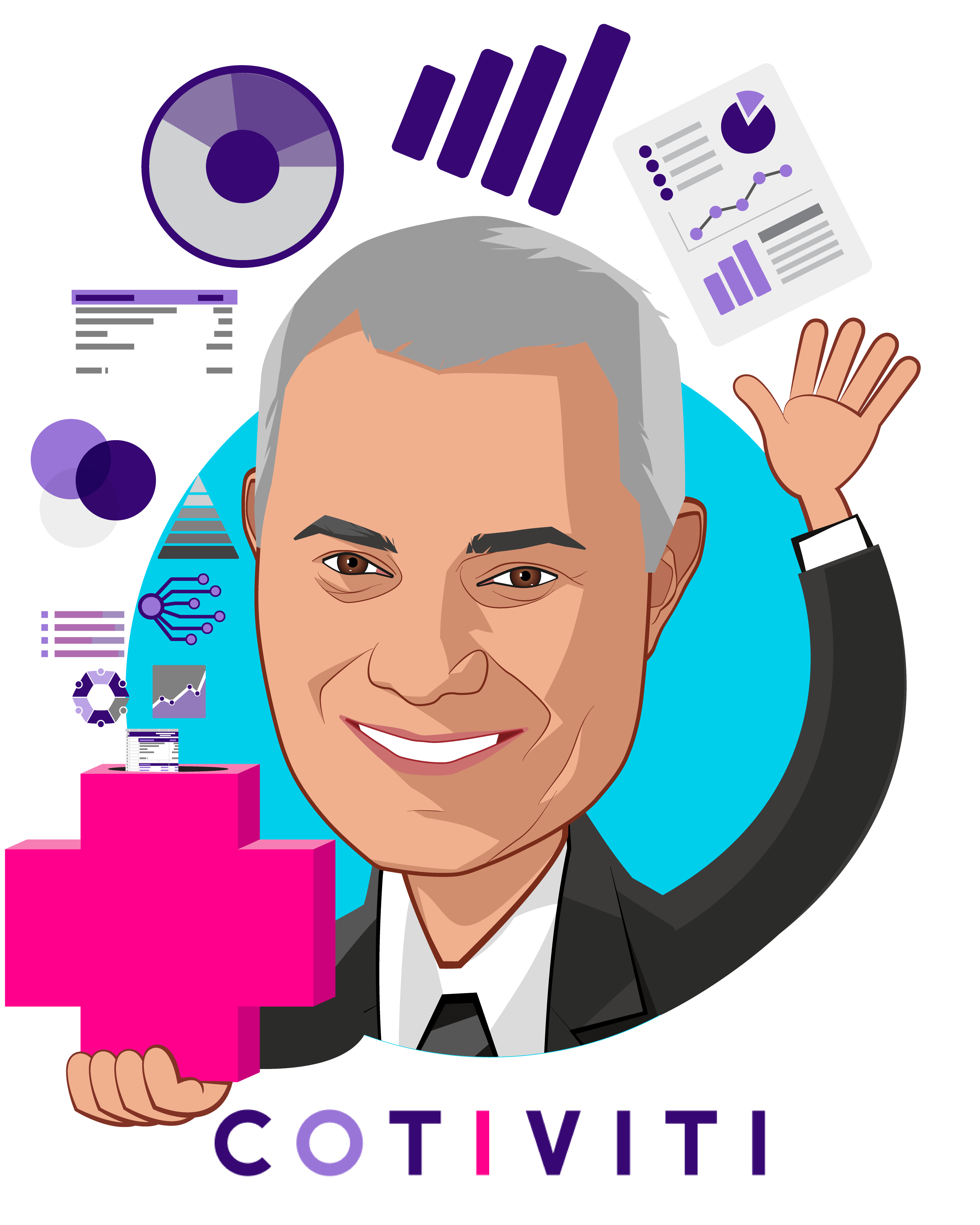 Overlay caricature of Emad Rizk, M.D., who is speaking at HLTH and is President and Chief Executive Officer at Cotiviti