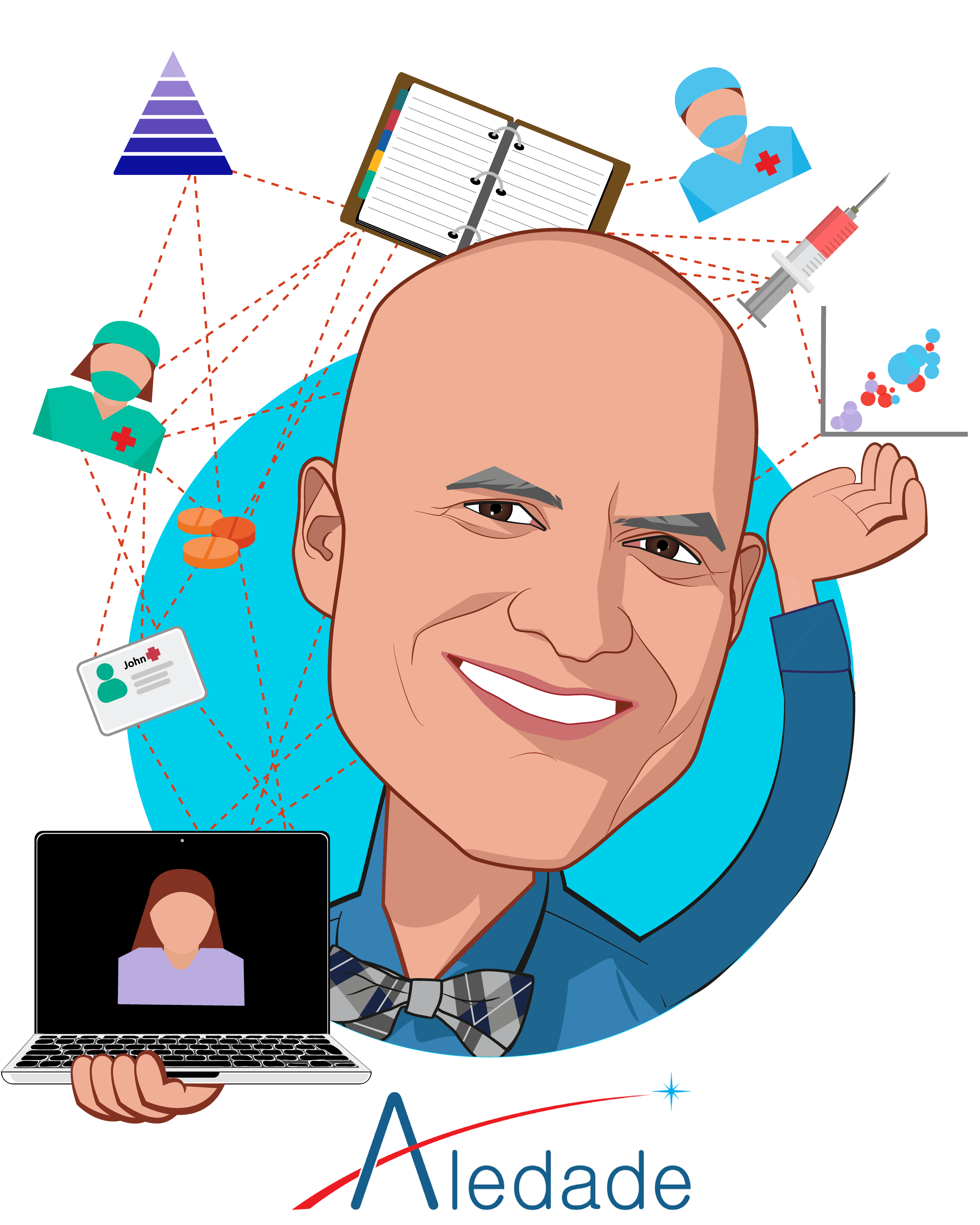 Overlay caricature of Farzad Mostashari, MD, who is speaking at HLTH and is Founder and CEO at Aledade, Inc.