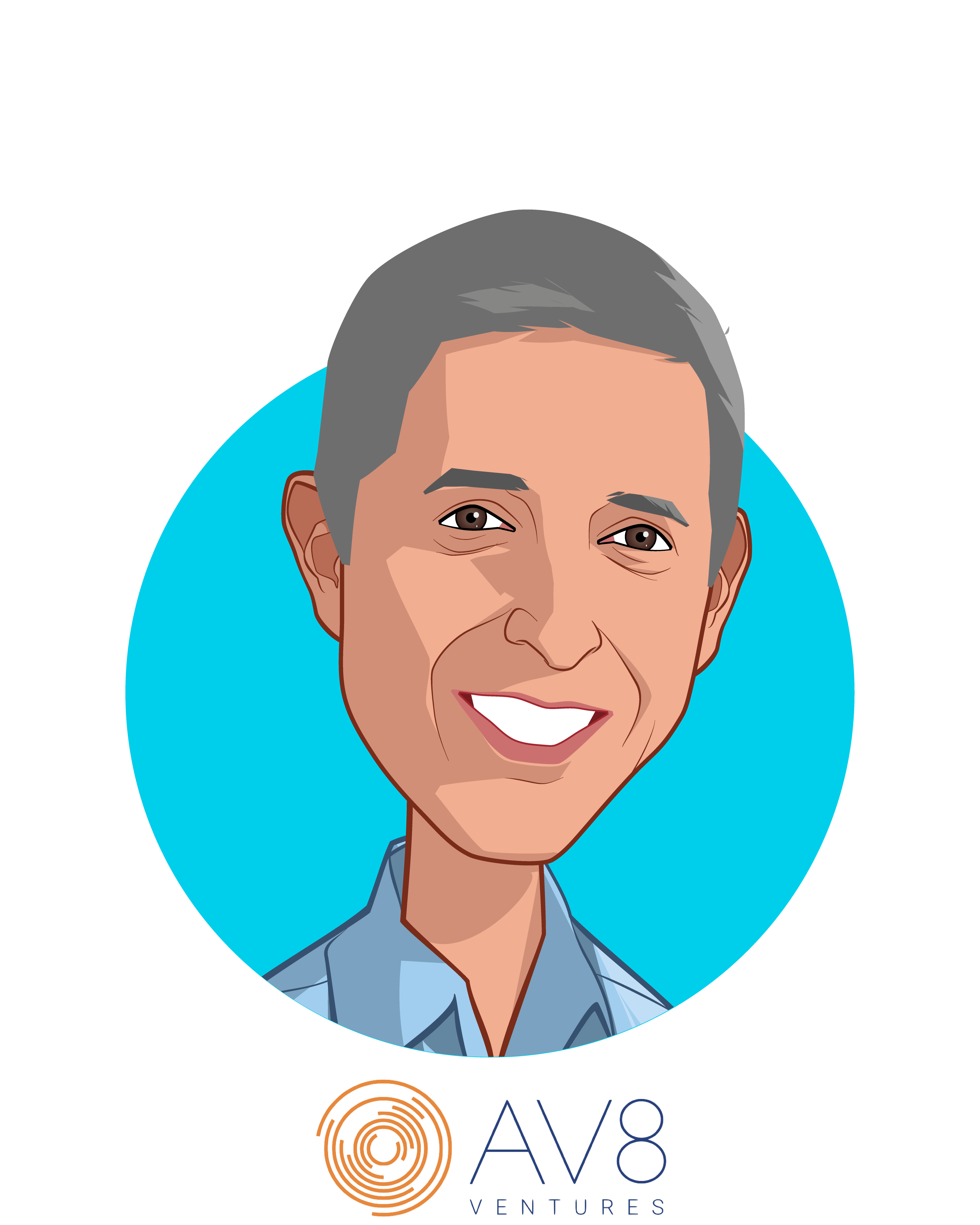 Main caricature of George Ugras, who is speaking at HLTH and is Managing Director at AV8 Ventures