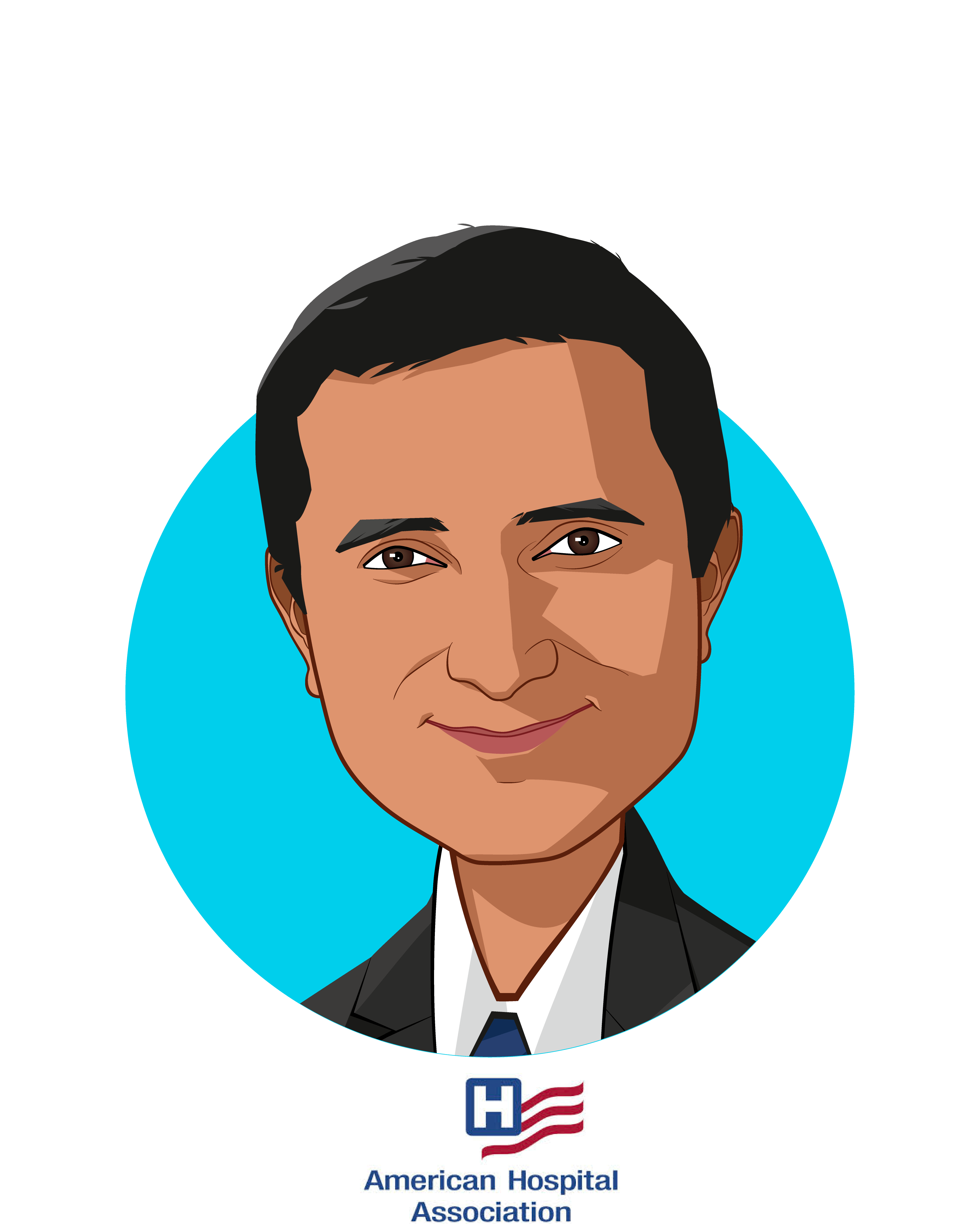 Main caricature of Jay Bhatt, DO, MPH, MPA, FACP, who is speaking at HLTH and is SVP & Chief Medical Officer at American Hospital Association