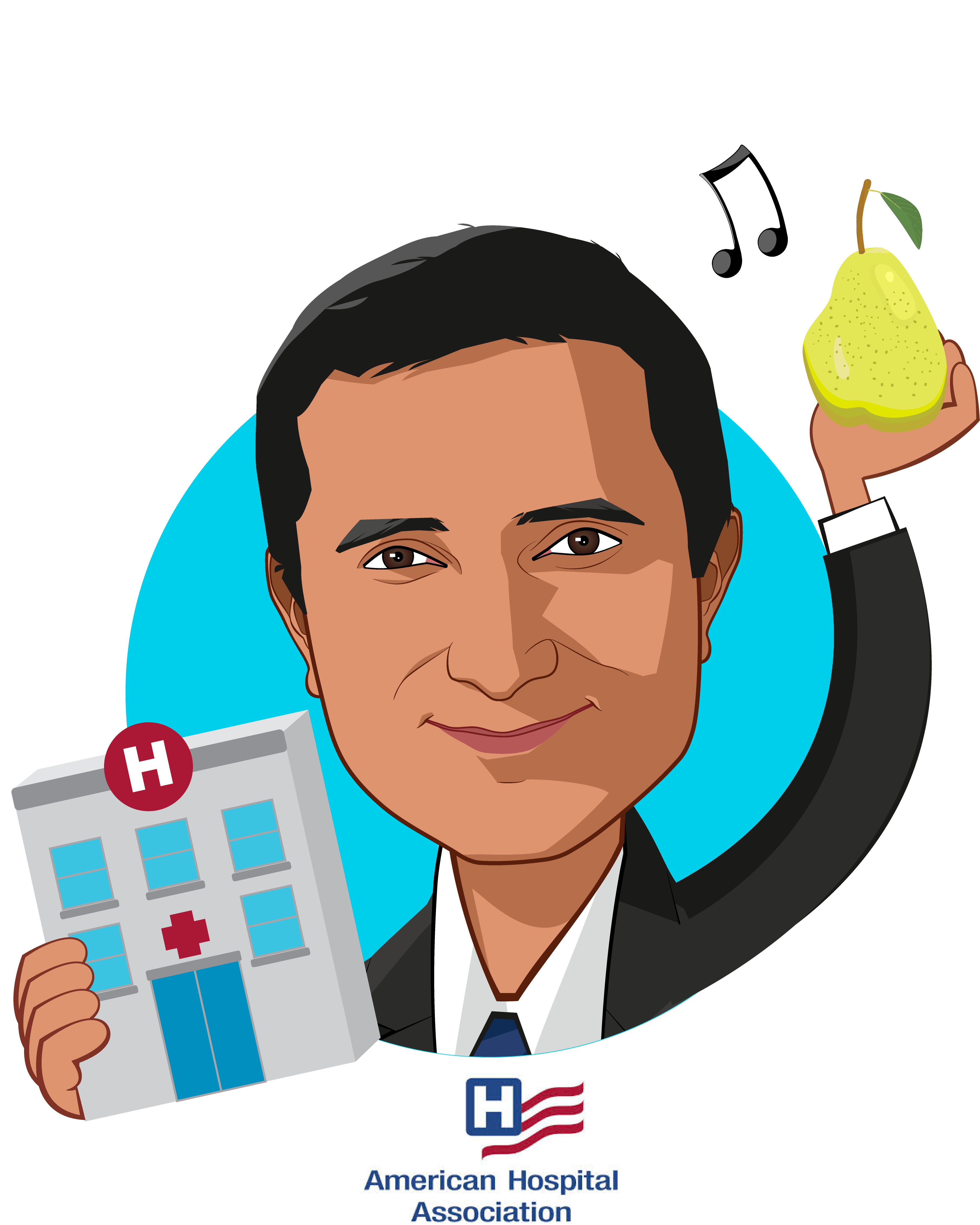 Overlay caricature of Jay Bhatt, DO, MPH, MPA, FACP, who is speaking at HLTH and is SVP & Chief Medical Officer at American Hospital Association