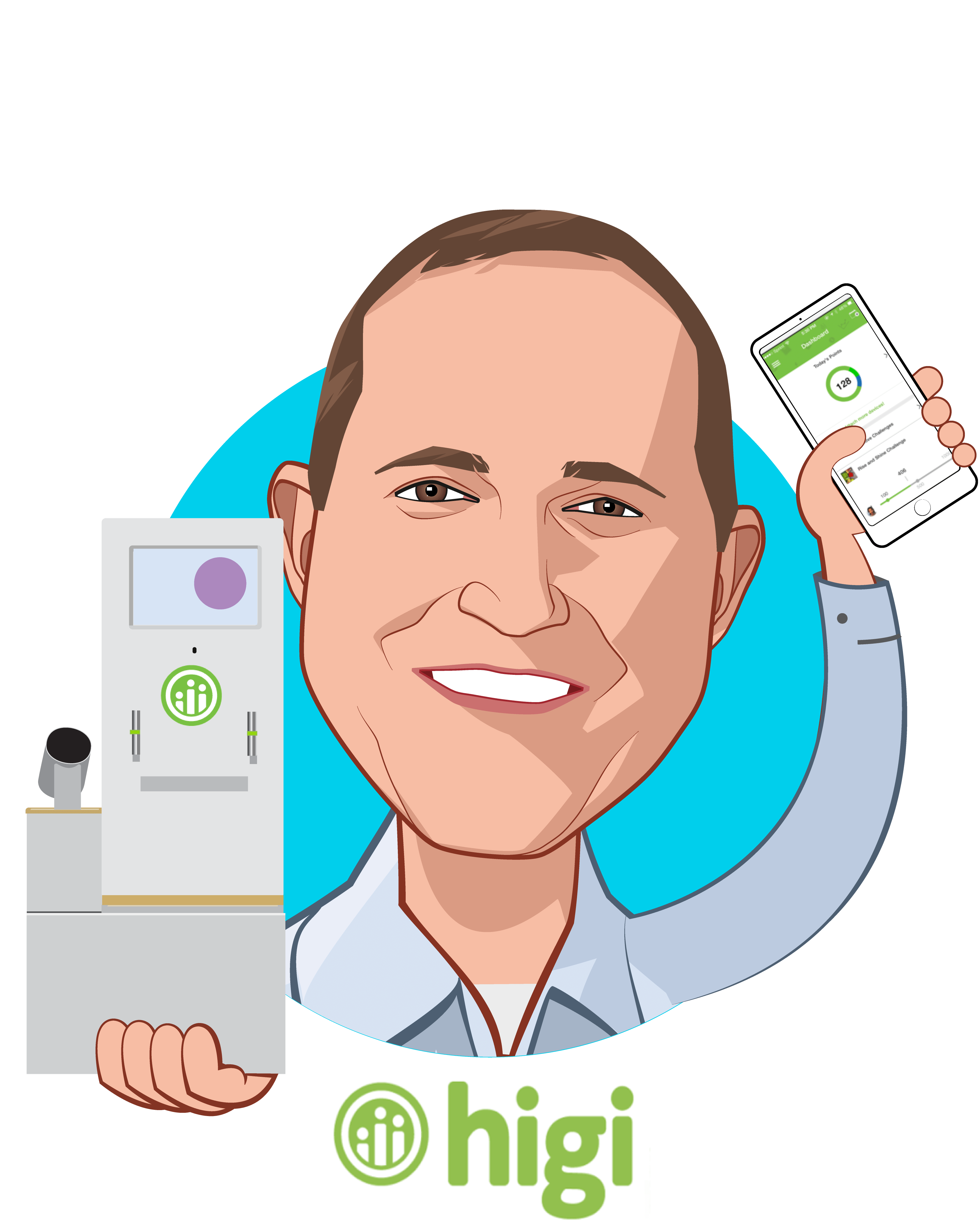 Overlay caricature of Jeff Bennett, who is speaking at HLTH and is CEO at higi
