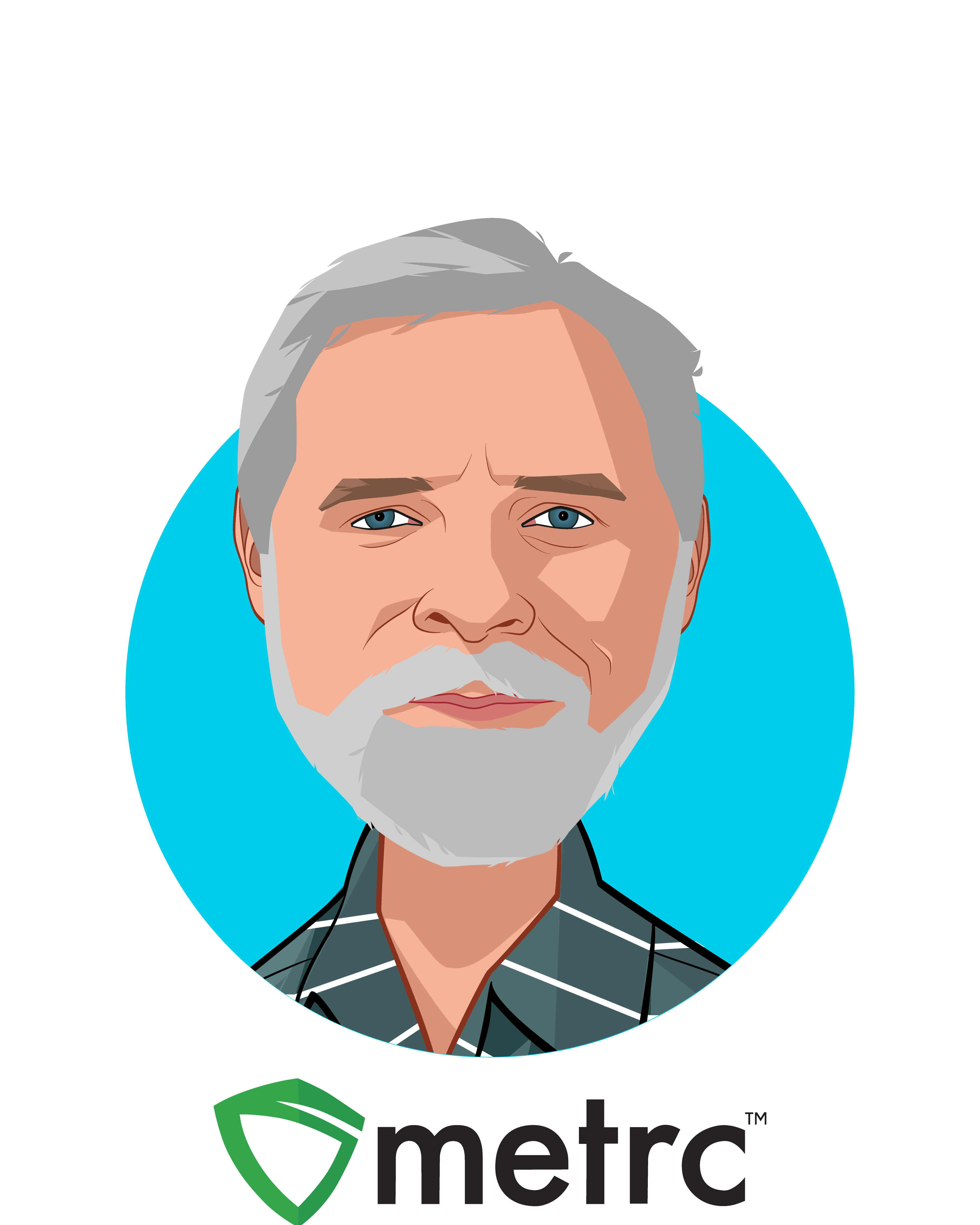 Main caricature of Jeff Wells, who is speaking at HLTH and is President and CEO  at Metrc