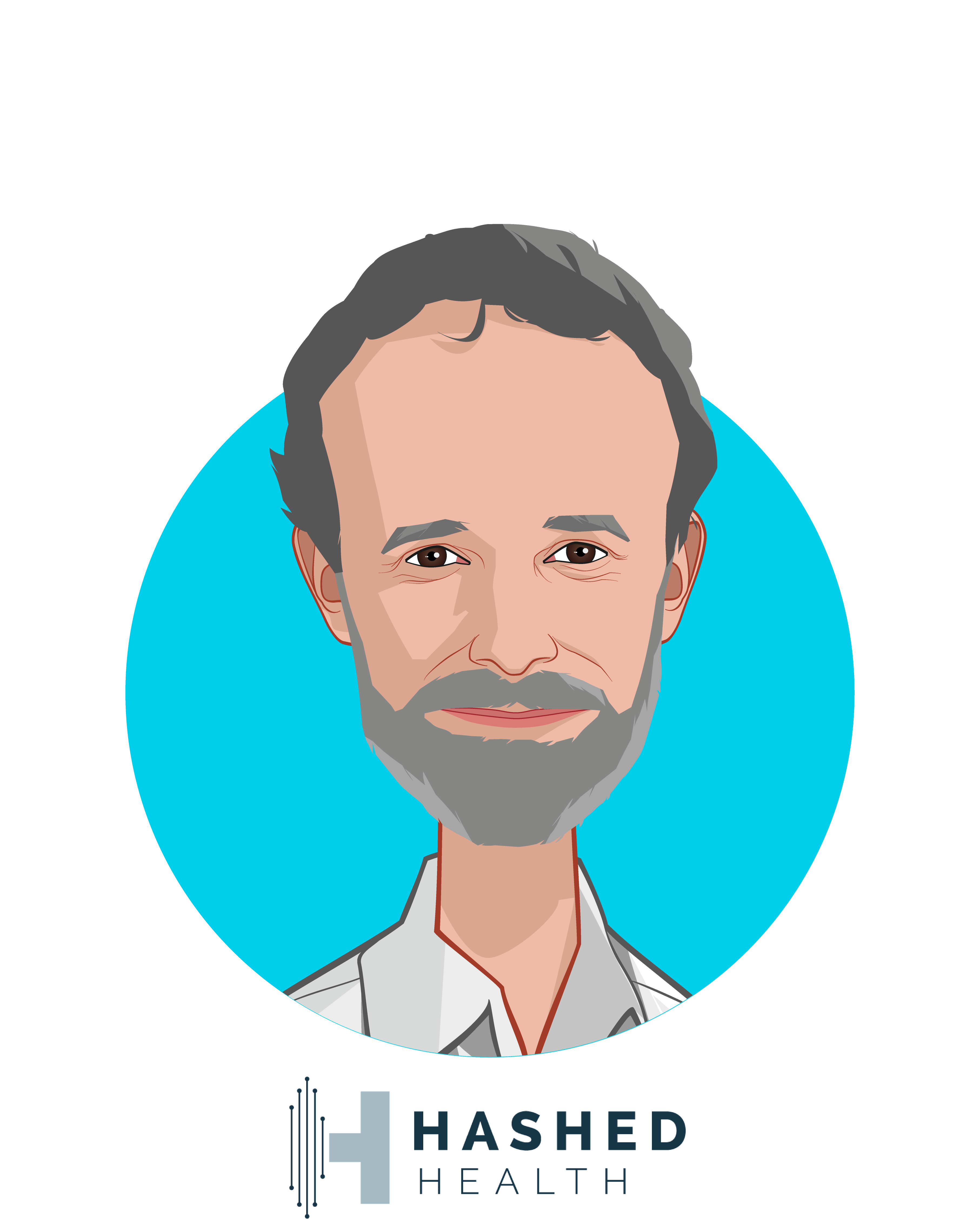 Main caricature of John Bass, who is speaking at HLTH and is Founder & CEO at Hashed Health