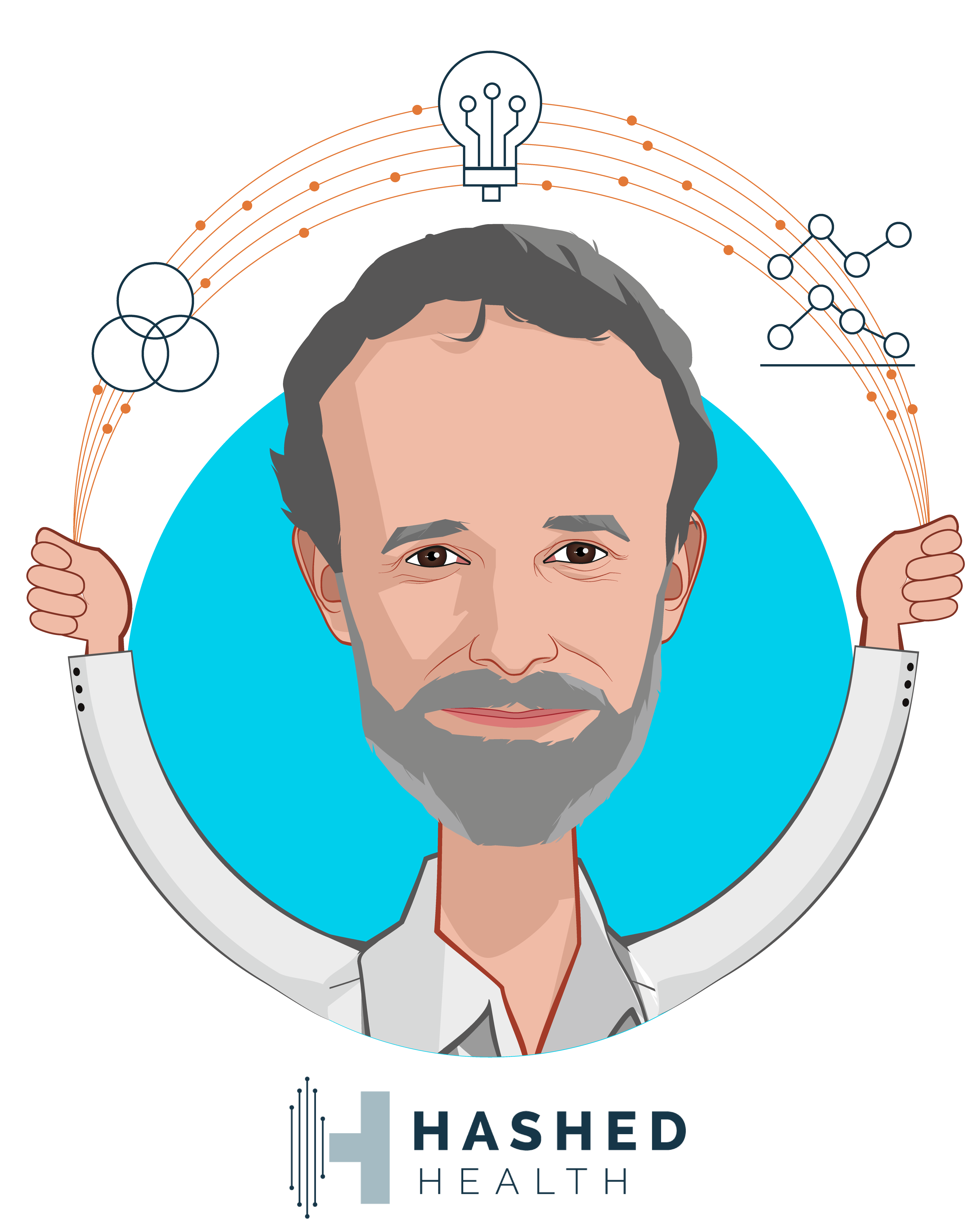 Overlay caricature of John Bass, who is speaking at HLTH and is Founder & CEO at Hashed Health