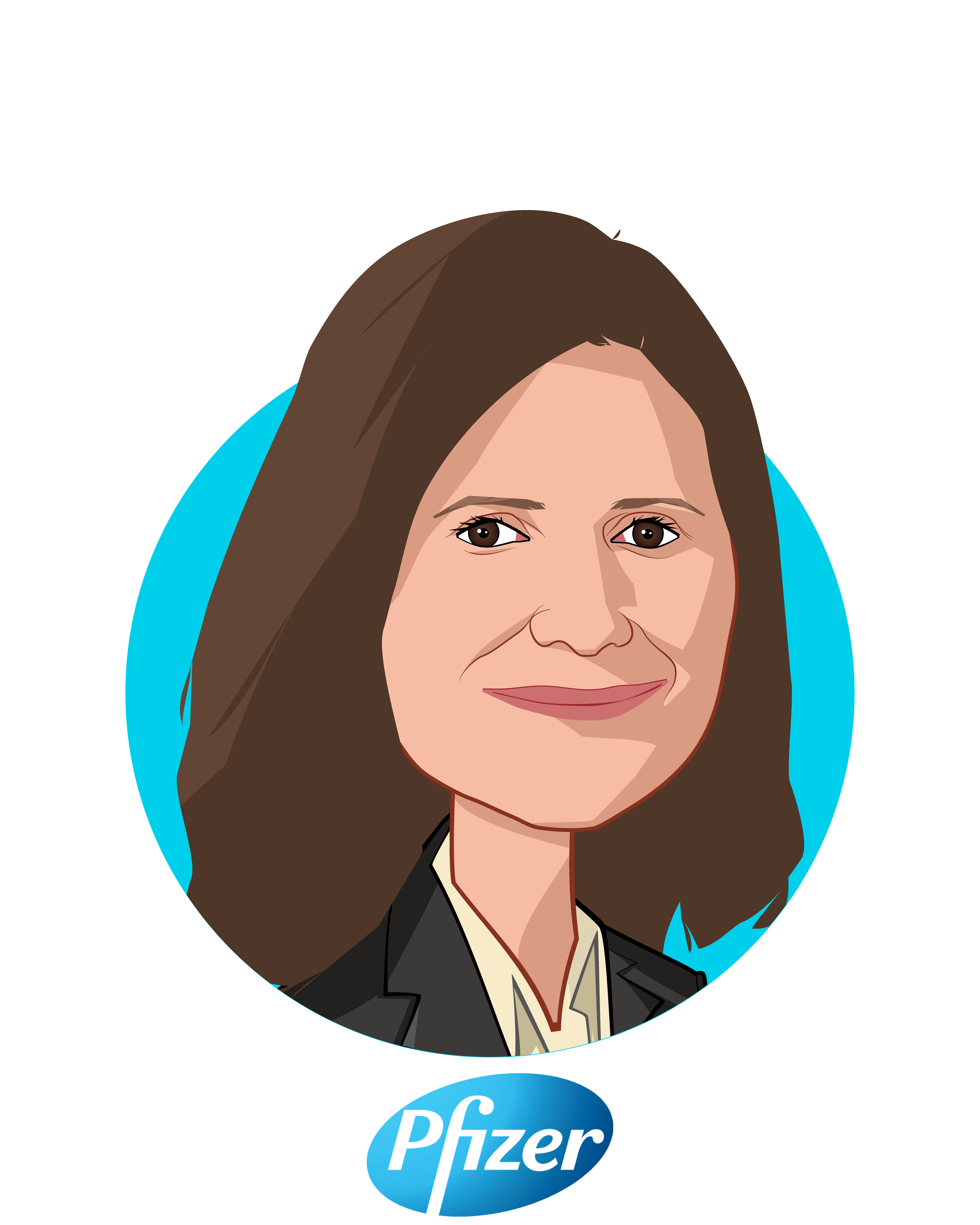 Main caricature of Lidia Fonseca, who is speaking at HLTH and is Chief Digital and Technology Officer and Executive Vice President at Pfizer