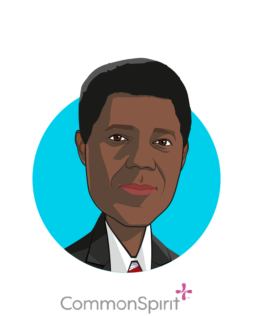 Main caricature of Lloyd Dean, who is speaking at HLTH and is CEO at CommonSpirit Health