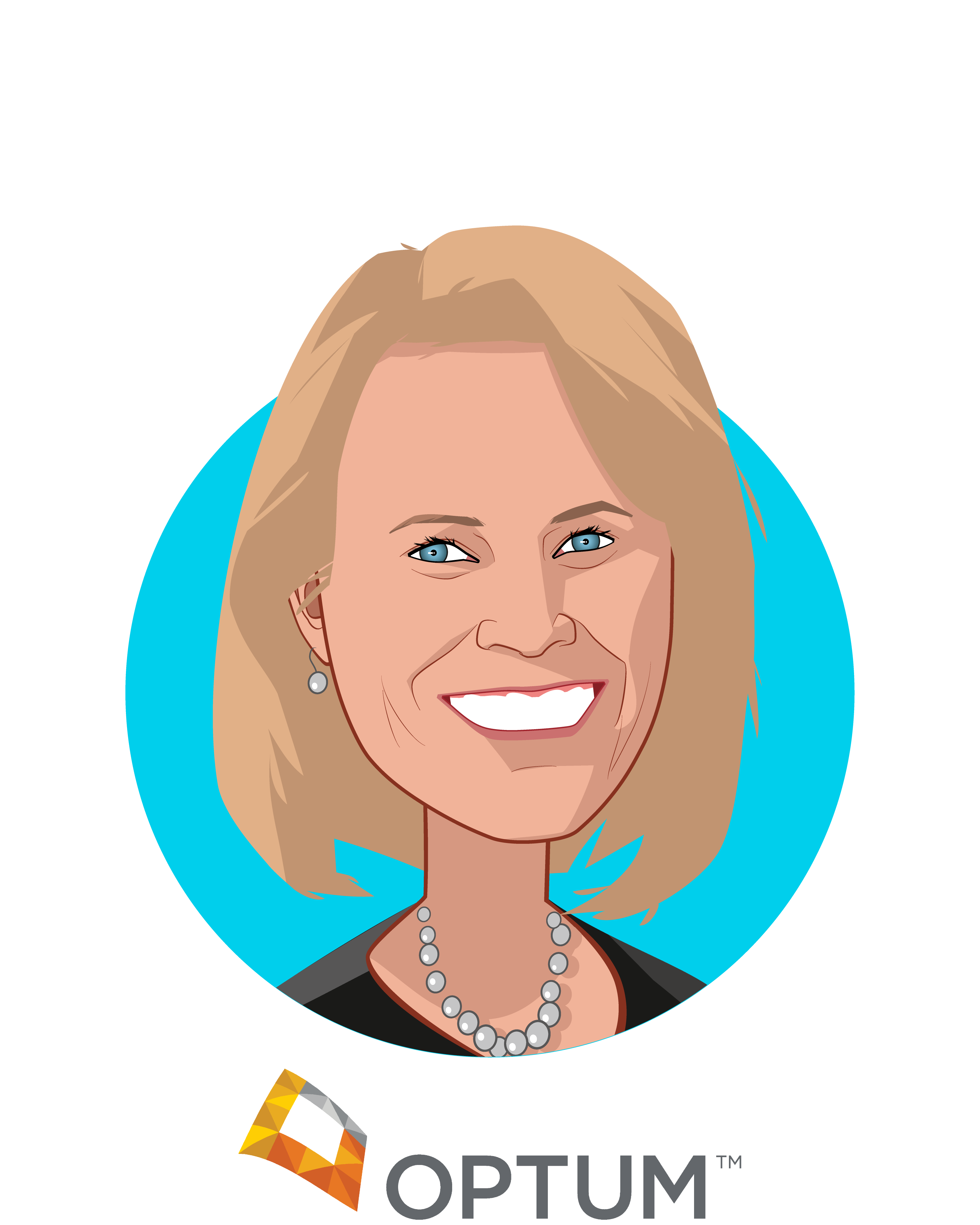 Main caricature of Lynne Stockstad, who is speaking at HLTH and is Chief Marketing Officer at Optum