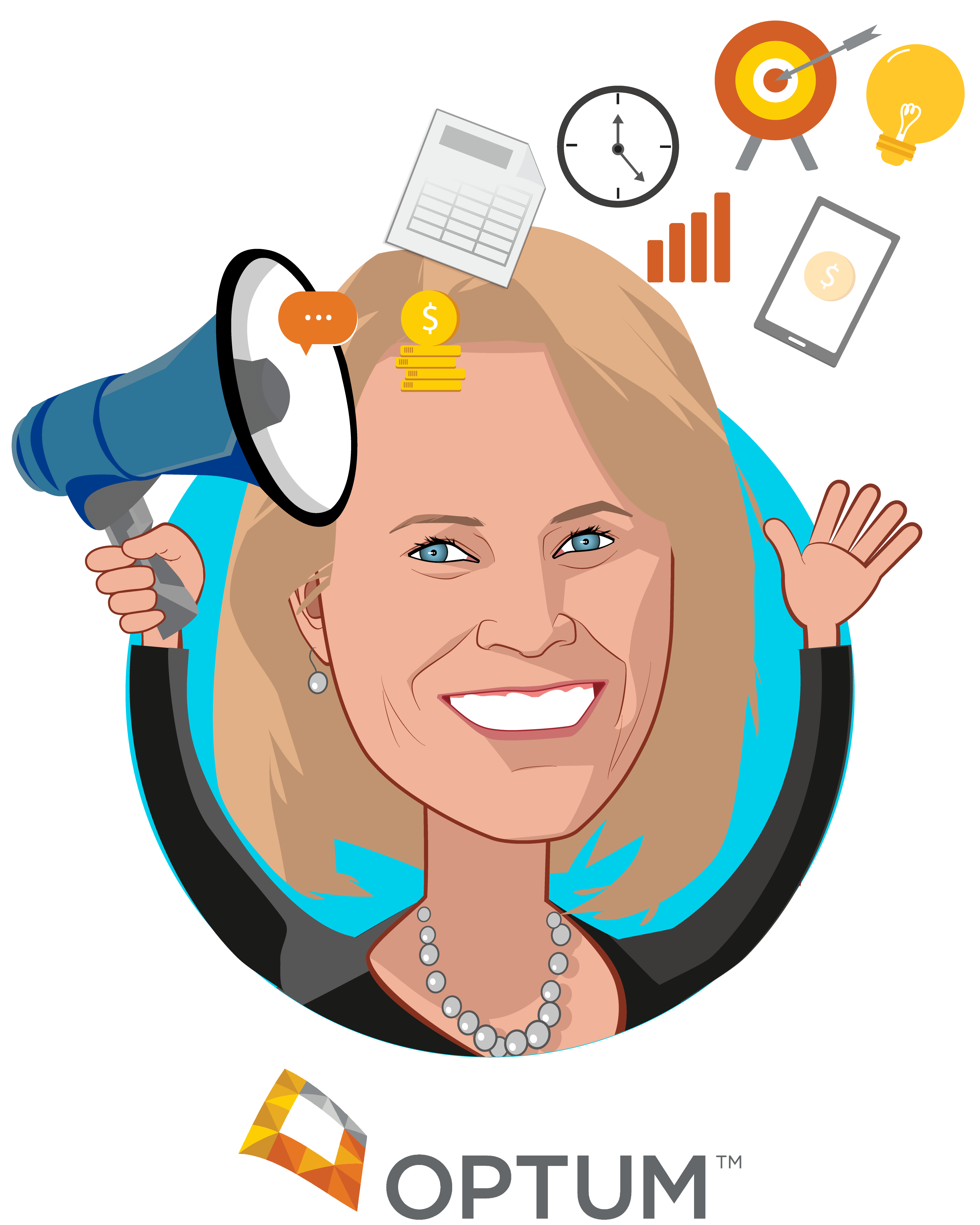 Overlay caricature of Lynne Stockstad, who is speaking at HLTH and is Chief Marketing Officer at Optum