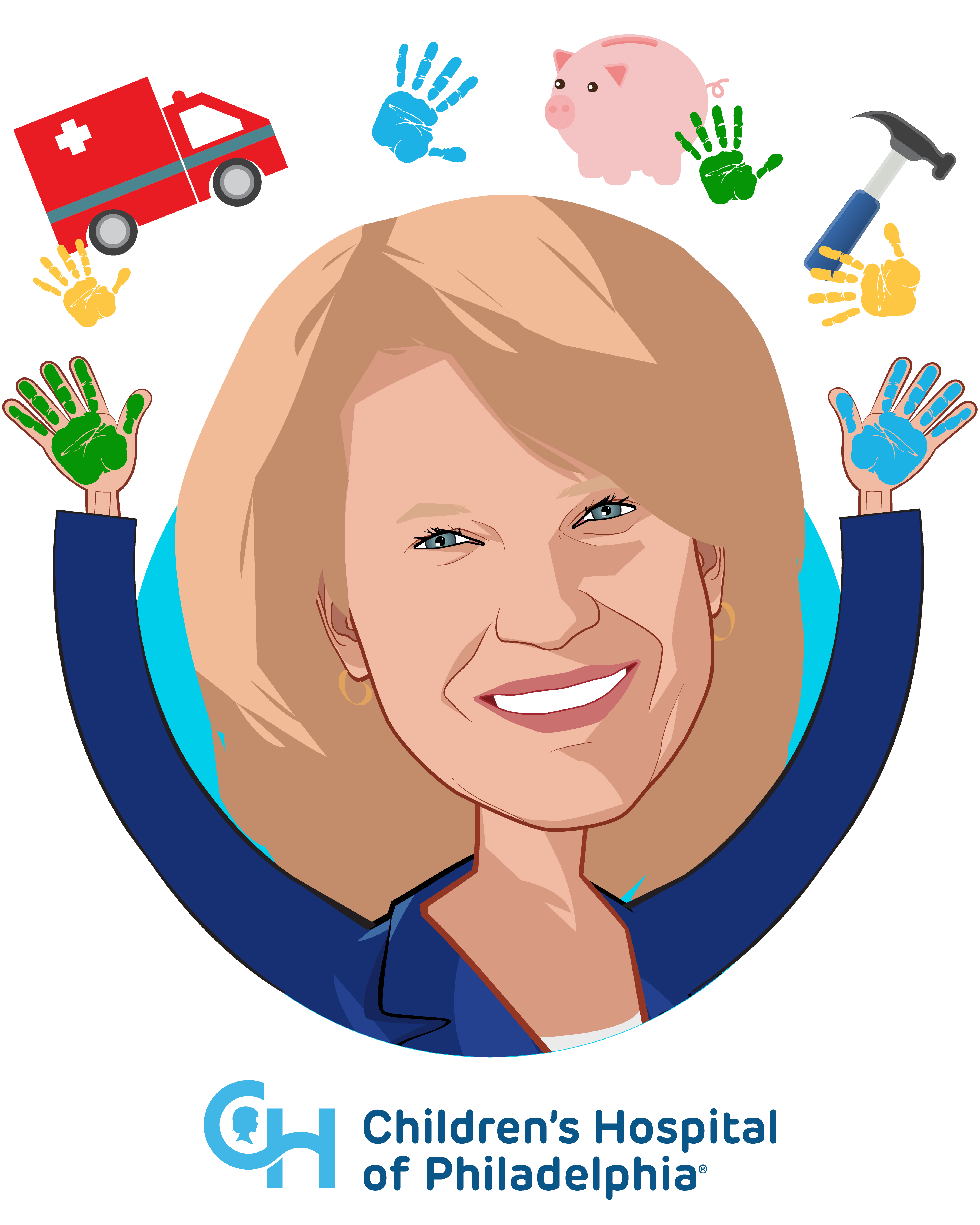 Overlay caricature of Madeline Bell, who is speaking at HLTH and is President and CEO at Children's Hospital of Philadelphia